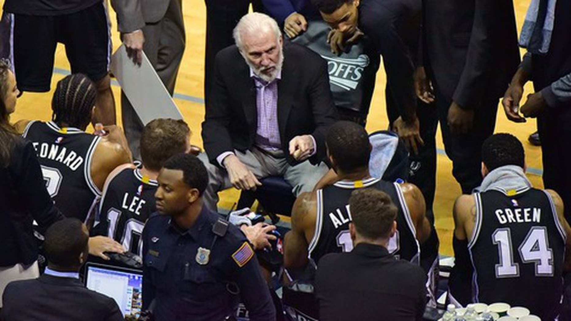 MEMPHIS, TN - APRIL 27: Head coach Gregg Popovich of the San Antonio Spurs coaches during the first half of Game 6 of the Western Conference Quarterfinals against the Memphis Grizzlies during the 2017 NBA Playoffs at FedExForum on April 27, 2017 in Memphis, Tennessee. NOTE TO USER: User expressly acknowledges and agrees that, by downloading and or using this photograph, User is consenting to the terms and conditions of the Getty Images License Agreement. (Photo by Frederick Breedon/Getty Images)