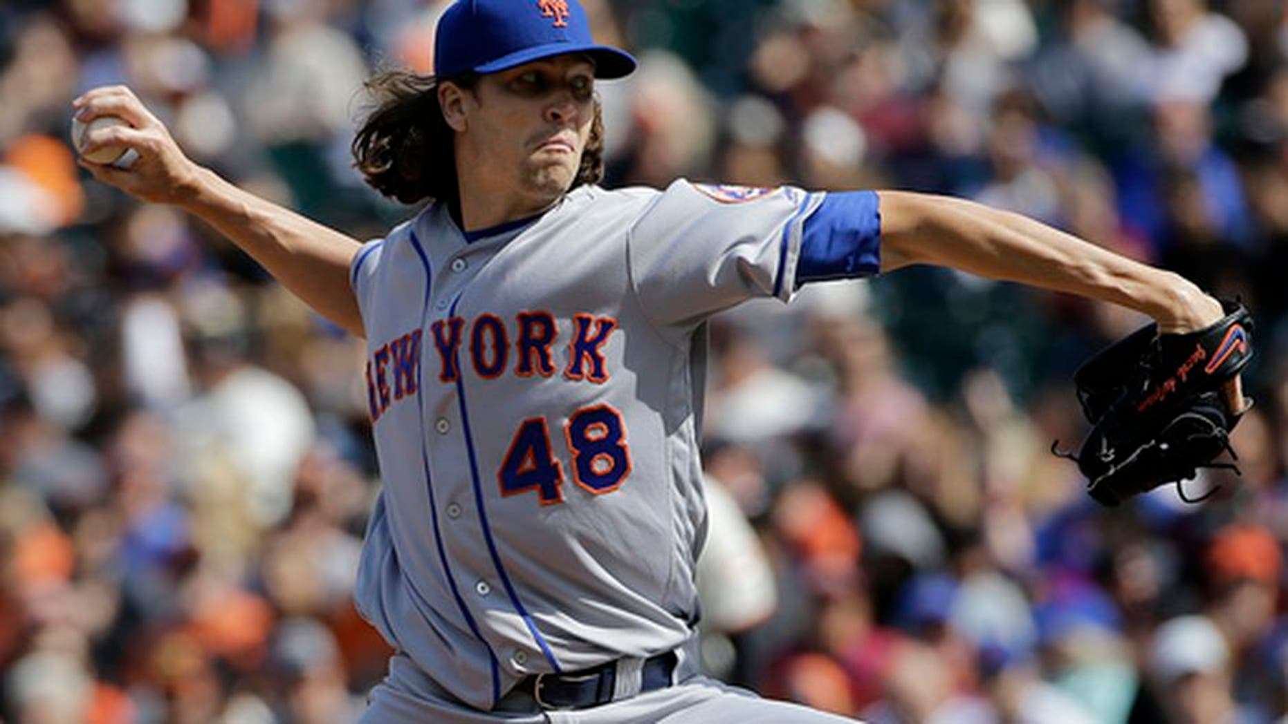New York Mets pitcher Jacob deGrom (48) throws against the San Francisco Giants during the first inning of a baseball game in San Francisco, Saturday, June 24, 2017. (AP Photo/Jeff Chiu)