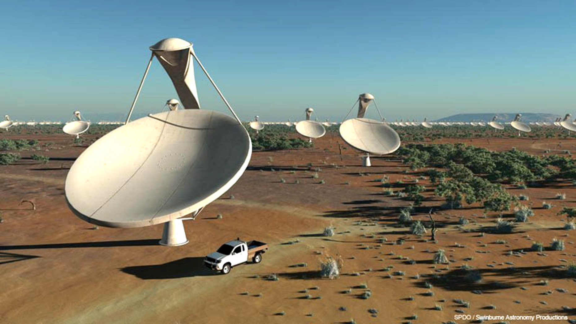 An artist's interpretation of the Square-Kilometer Array, a huge radio telescope currently under development in Australia.