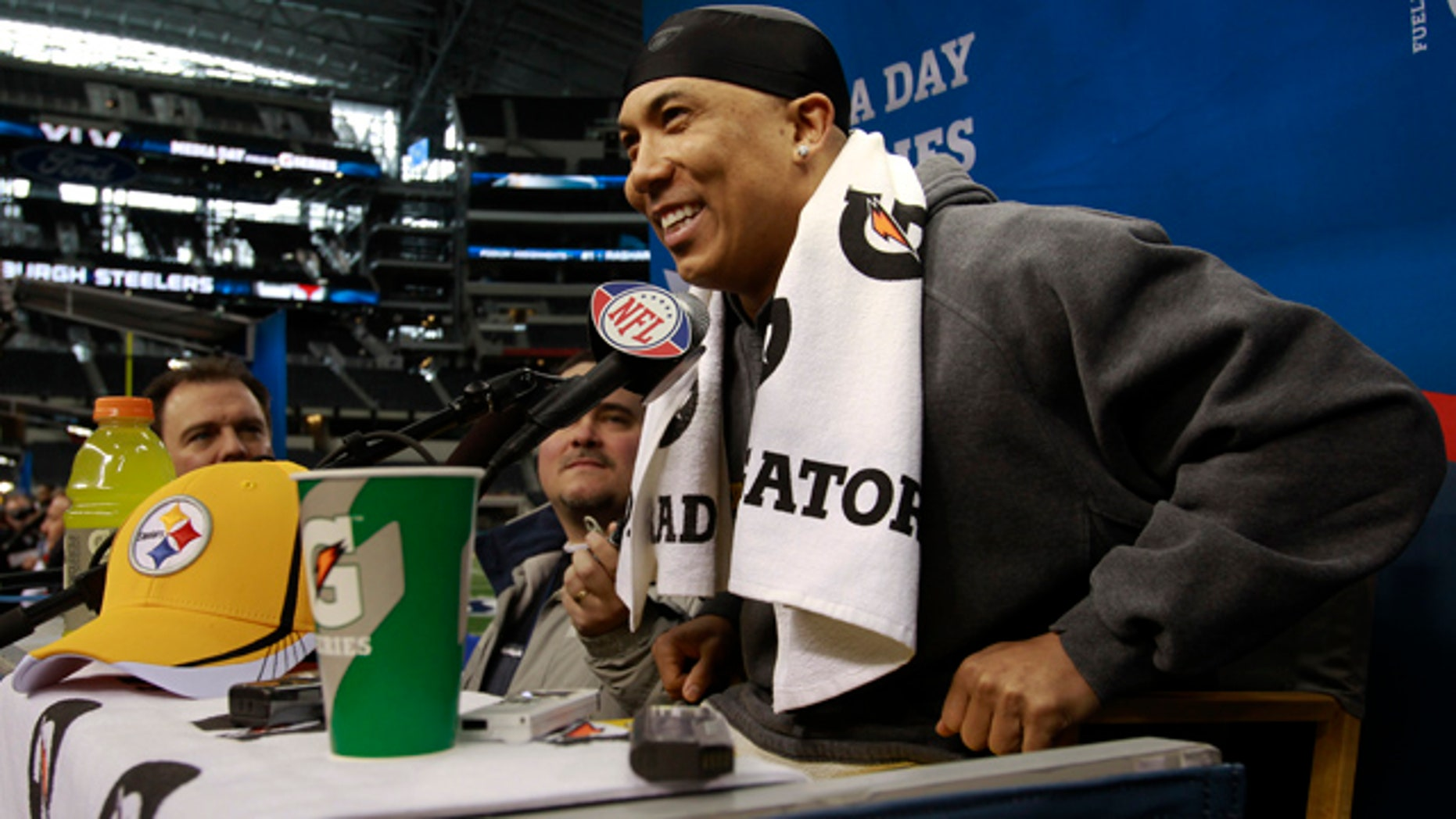 Feb. 1: Pittsburgh Steelers' Hines Ward smiles as he answers questions during media day for NFL football Super Bowl XLV in Arlington, Texas.