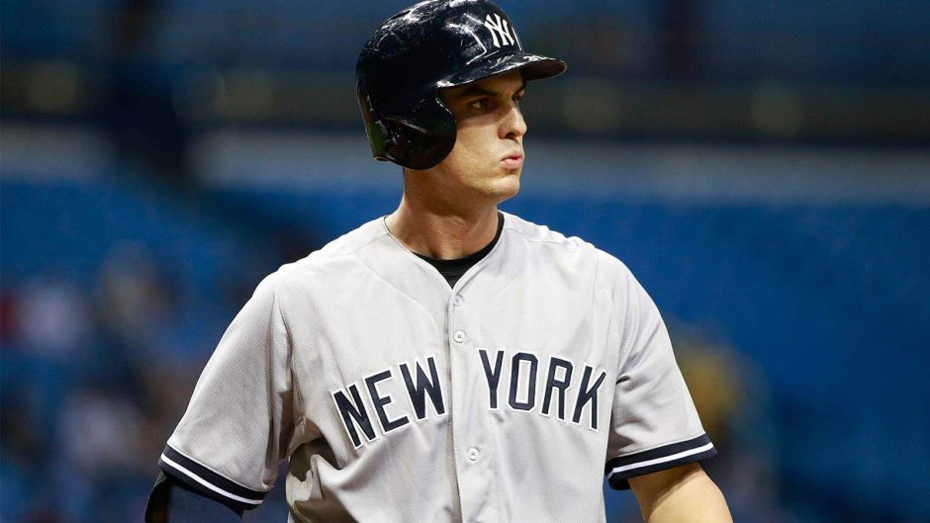 Sep 14, 2015; St. Petersburg, FL, USA; New York Yankees first baseman Greg Bird (31) at bat at Tropicana Field. Mandatory Credit: Kim Klement-USA TODAY Sports