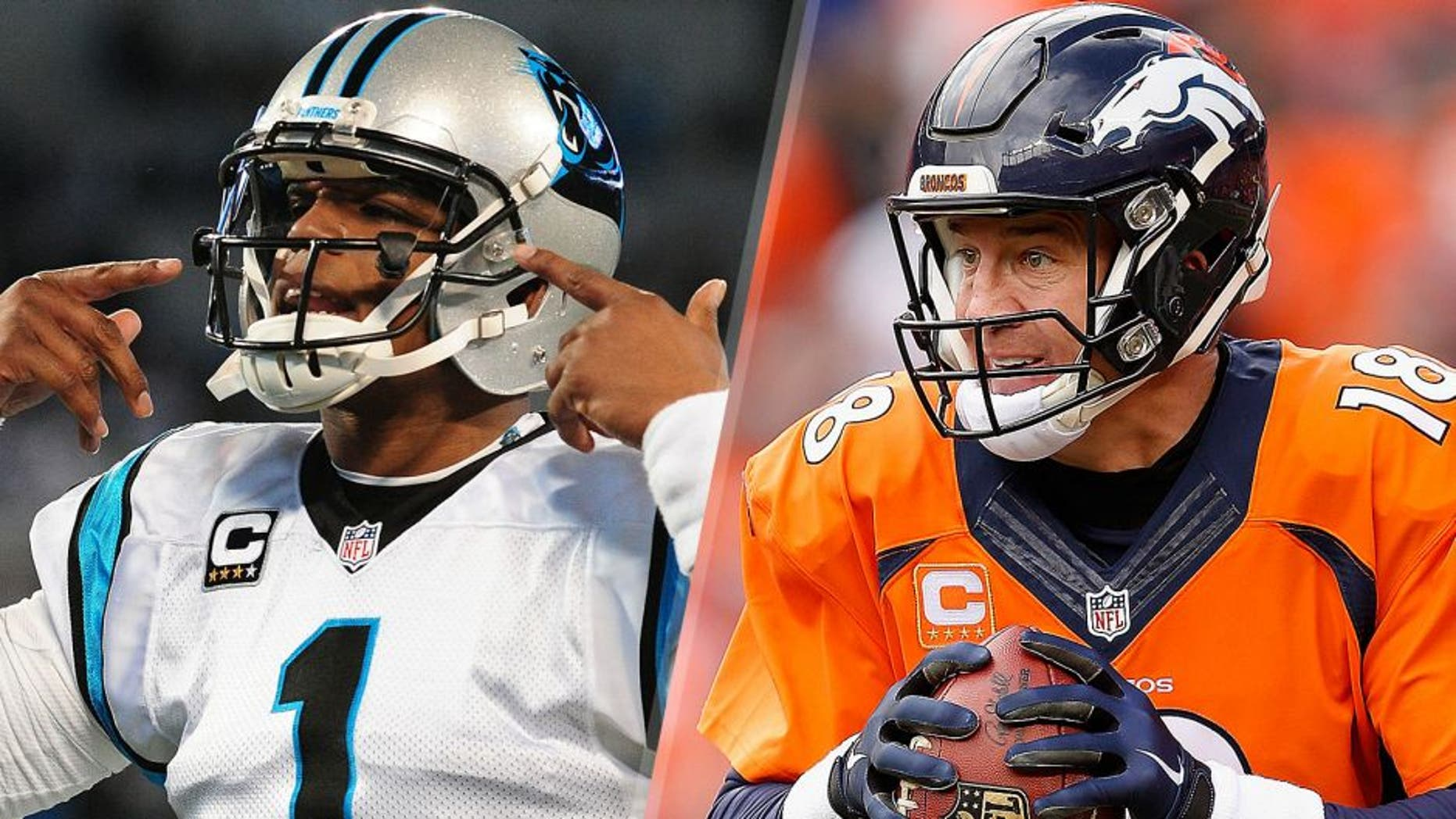Cam Newton #1 of the Carolina Panthers warms up before the NFC Championship Game against the Arizona Cardinals at Bank Of America Stadium on January 24, 2016 in Charlotte, North Carolina. (Photo by Scott Cunningham/Getty Images) Quarterback Peyton Manning #18 of the Denver Broncos looks to pass during the AFC Championship game against the New England Patriots at Sports Authority Field at Mile High on January 24, 2016 in Denver, Colorado. The Broncos defeated the Patriots 20-18. (Photo by Christian Petersen/Getty Images)
