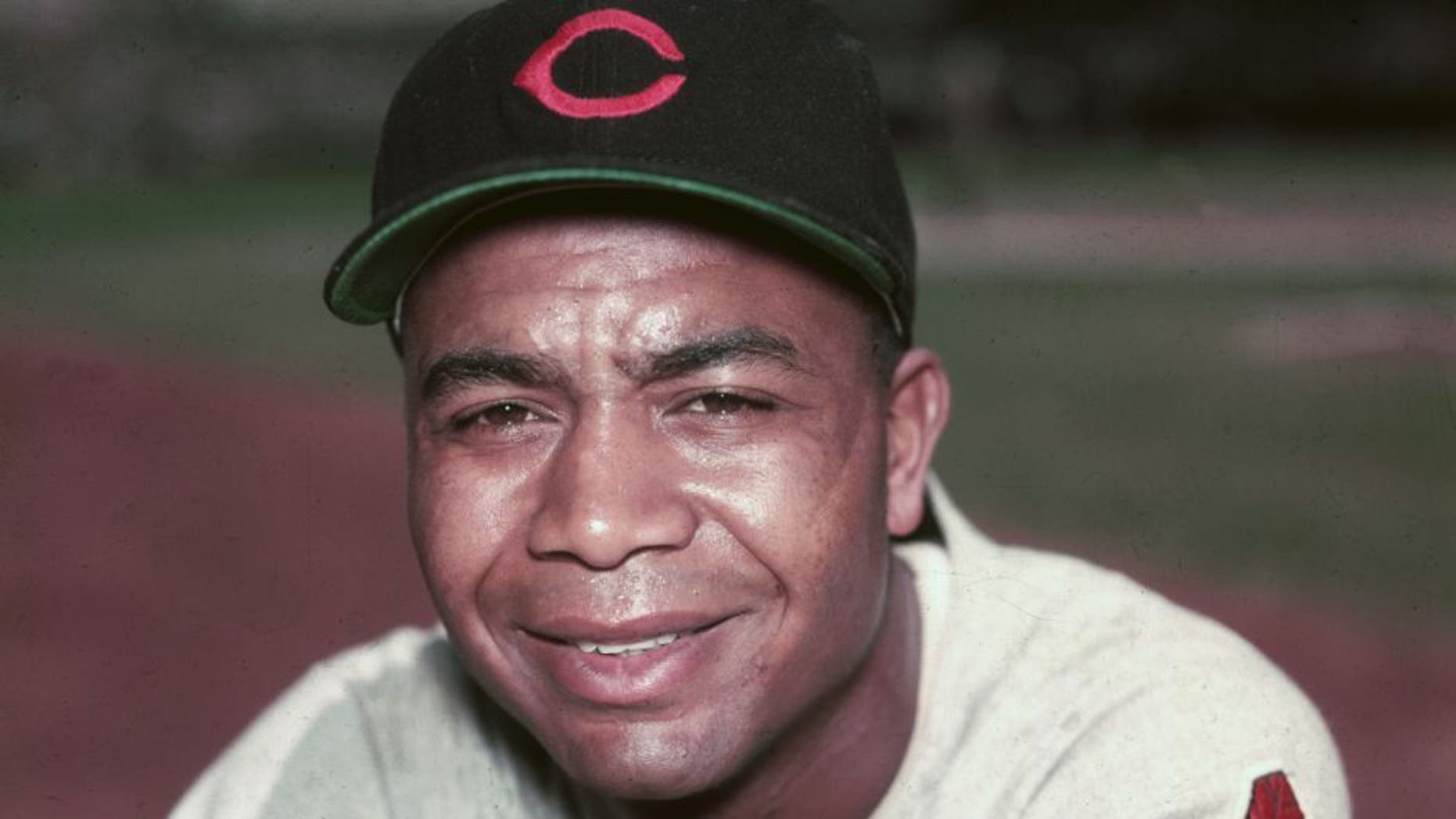 circa 1955: Portrait of Larry Doby, the first African-American player in the American League, wearing his Cleveland Indians uniform. Doby played outfield for the Indians from 1947-1959. (Photo by Hulton Archive/Getty Images)
