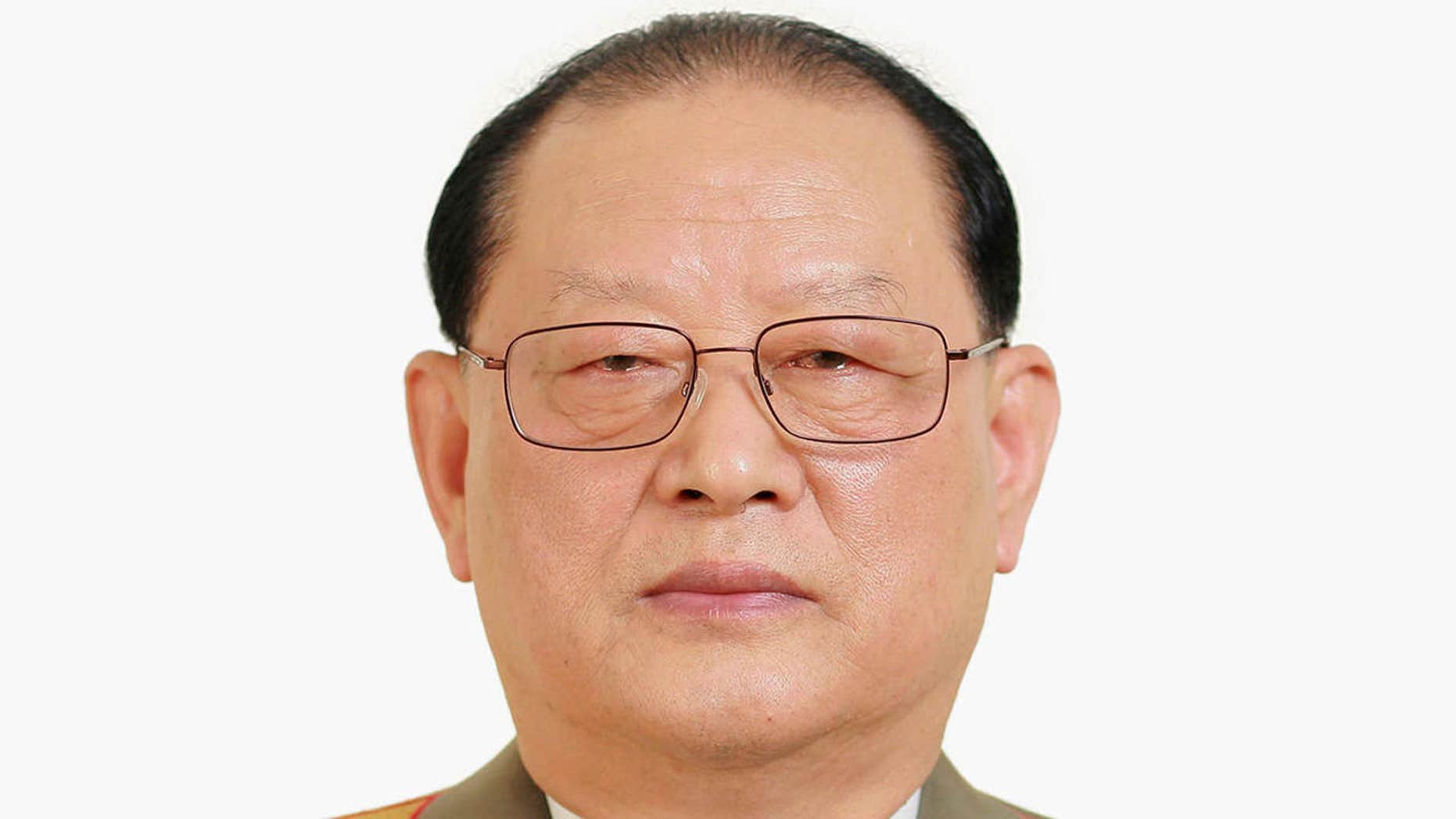 FILE - In this photo distributed on Wednesday, May 11, 2016, by the North Korean government, Kim Won Hong, elected as a member of the Political Bureau of the Workers' Party at the Workers' Party congress on May 9, poses for a photo.