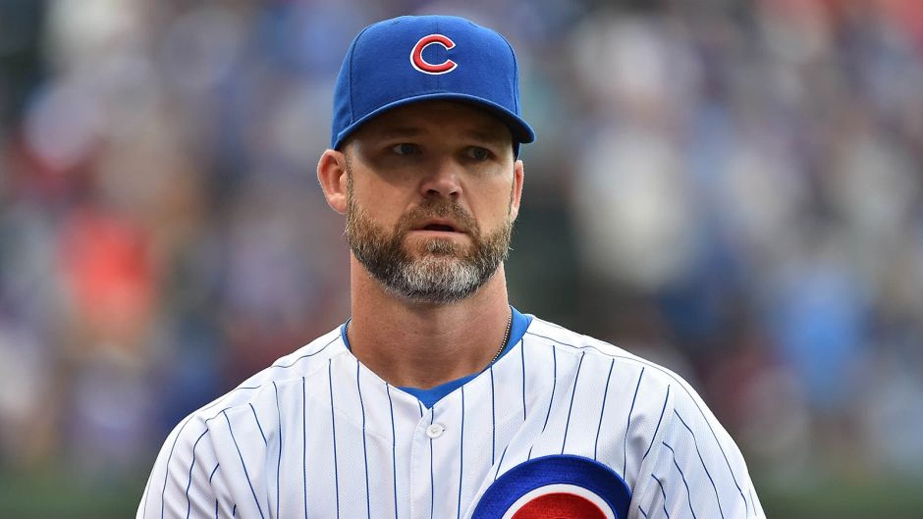 Sep 19, 2015; Chicago, IL, USA; Chicago Cubs catcher David Ross (3) before the game between the Chicago Cubs and the St. Louis Cardinals at Wrigley Field. Mandatory Credit: Jasen Vinlove-USA TODAY Sports