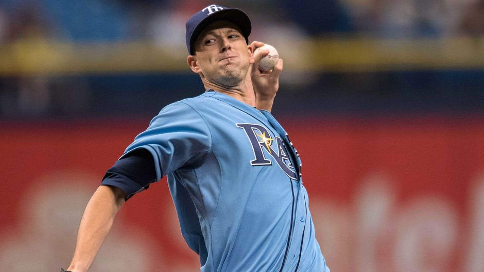 Sep 13, 2015; St. Petersburg, FL, USA; Tampa Bay Rays starting pitcher Drew Smyly (33) delivers a pitch in the first inning against the Boston Red Sox at Tropicana Field. Mandatory Credit: Jeff Griffith-USA TODAY Sports