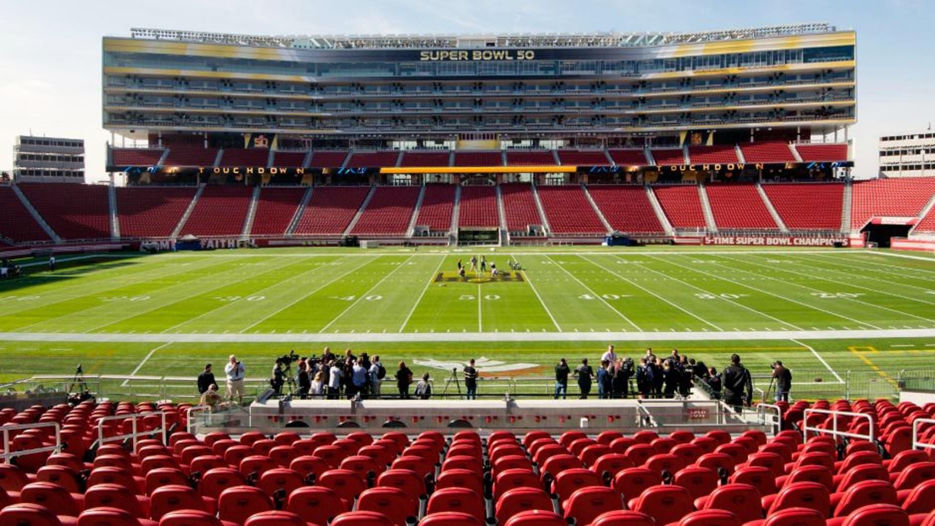 January 26, 2016; Santa Clara, CA, USA; General view of Levi's Stadium during a field preparation press conference prior to Super Bowl 50. Mandatory Credit: Kyle Terada-USA TODAY Sports