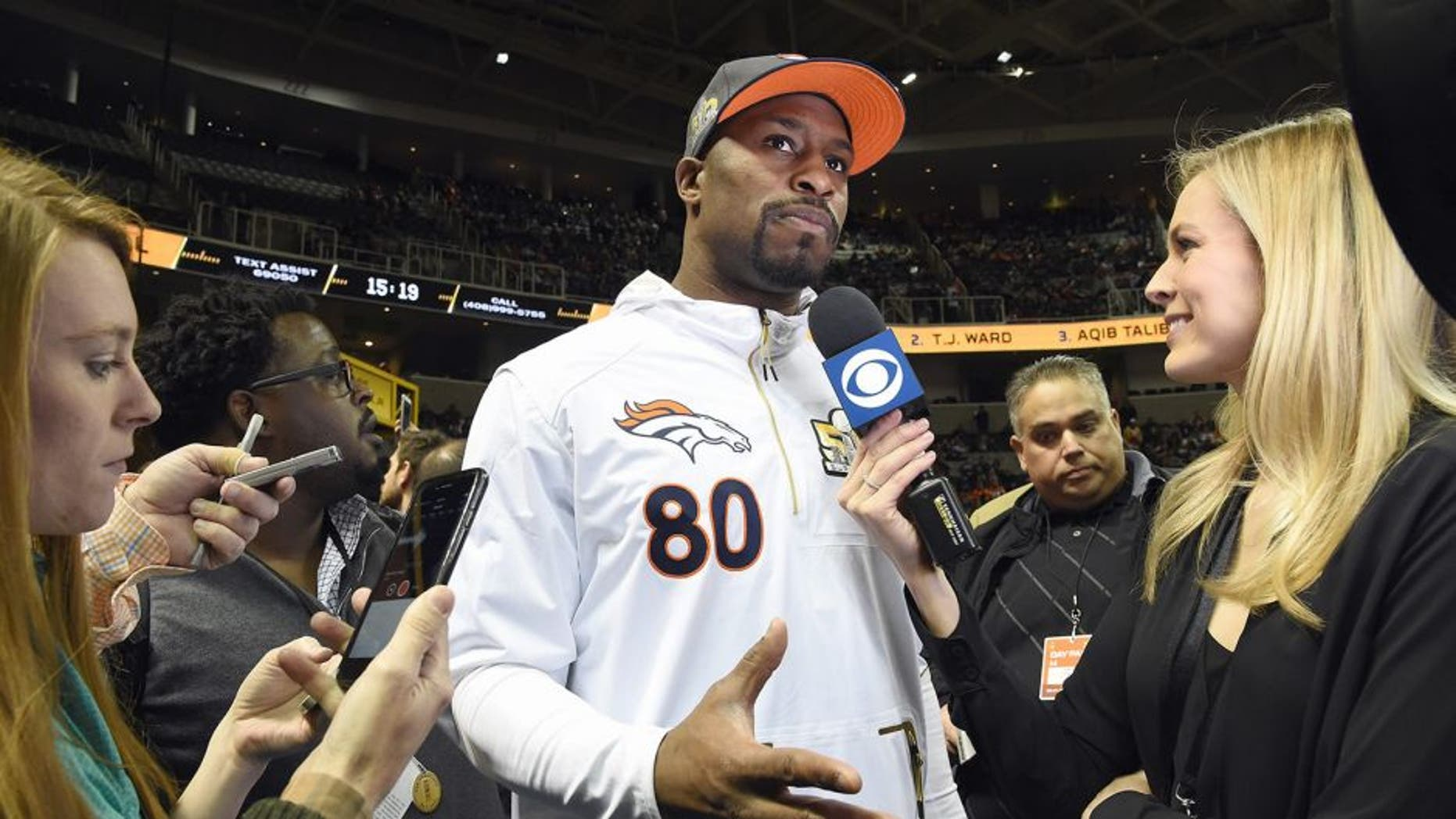 SAN JOSE, CA - FEBRUARY 01: Vernon Davis #80 of the Denver Broncos addresses the media at Super Bowl Opening Night Fueled by Gatorade at SAP Center on February 1, 2016 in San Jose, California. (Photo by Thearon W. Henderson/Getty Images)