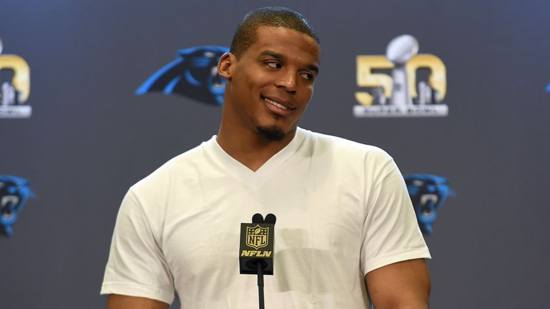 SAN JOSE, CA - FEBRUARY 02: Quarterback Cam Newton #1 of the Carolina Panther addresses the media prior to Super Bowl 50 at the San Jose Convention Center/ San Jose Marriott on February 2, 2016 in San Jose, California. (Photo by Thearon W. Henderson/Getty Images)