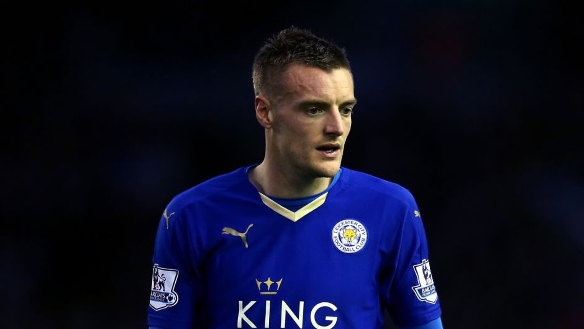 LIVERPOOL, ENGLAND - DECEMBER 26: Jamie Vardy of Leicester City looks on during the Barclays Premier League match between Liverpool and Leicester City at Anfield on December 26, 2015 in Liverpool, England. (Photo by Chris Brunskill/Getty Images)