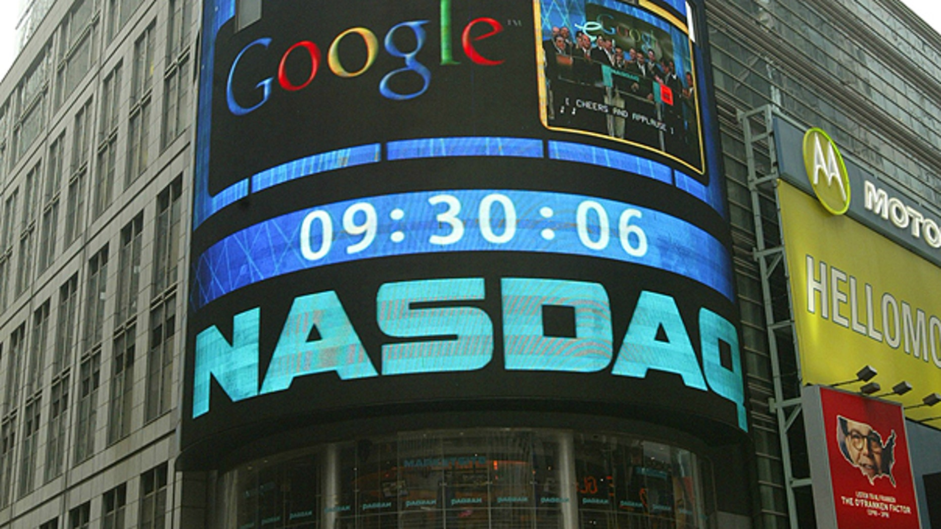 The sign outside the NASDAQ Market site is seen in this Aug. 19, 2004 file photo taken in New York.