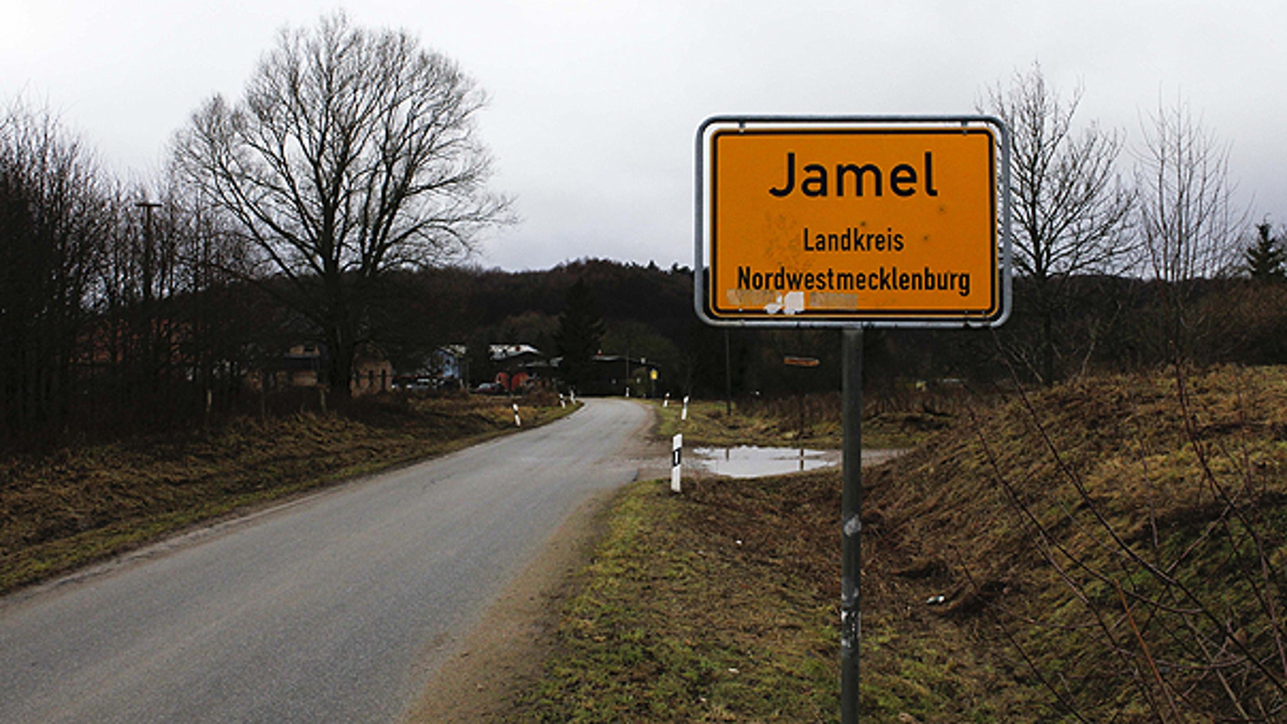 Jan. 25: The drive in to the village of Jamel, 165 miles north west of Berlin in the state Mecklenburg-Western Pomerania, Germany is pictured.