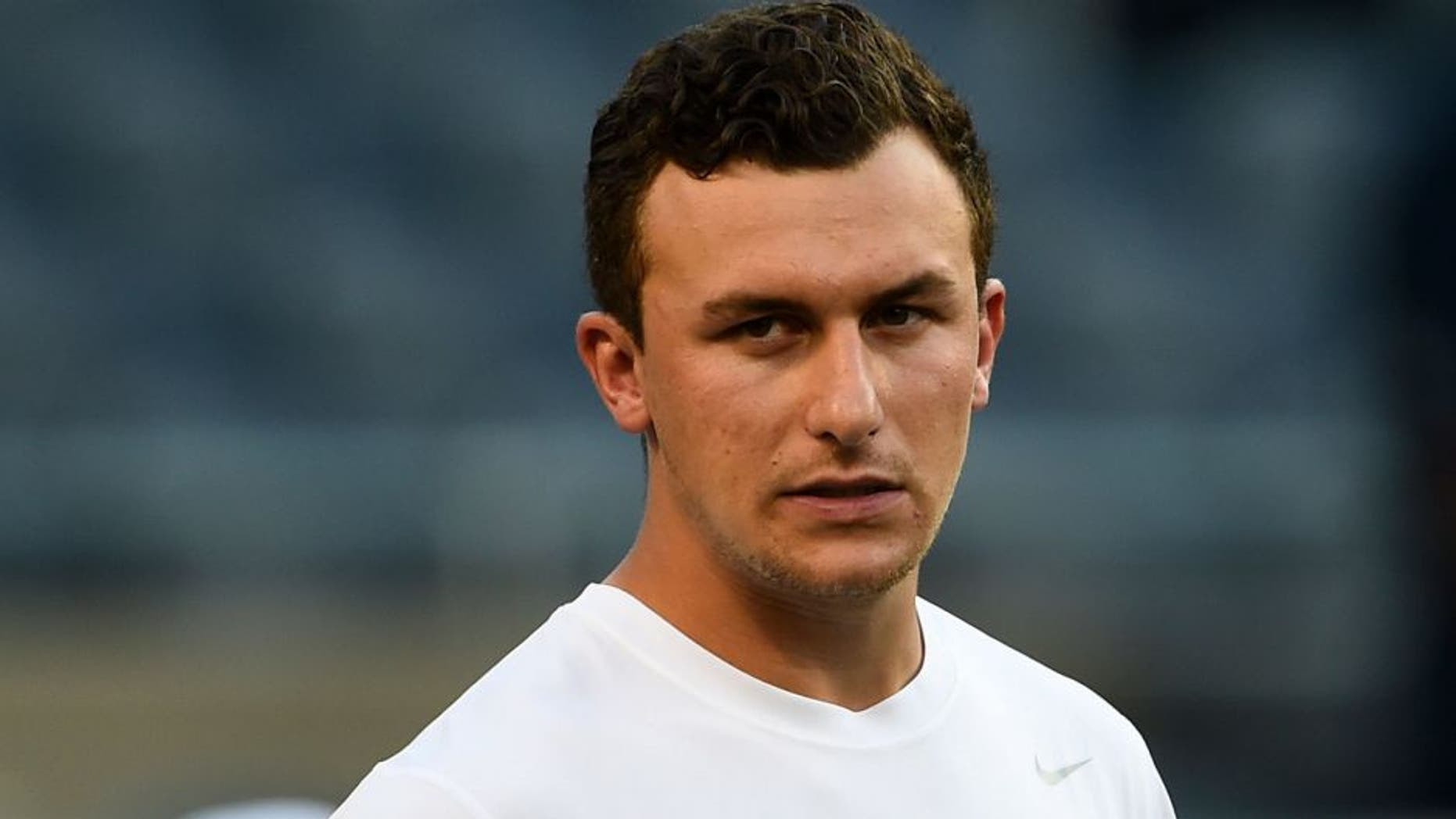 Sep 3, 2015; Chicago, IL, USA; Cleveland Browns quarterback Johnny Manziel (2) stretches before the game against the Chicago Bears at Soldier Field. Mandatory Credit: Mike DiNovo-USA TODAY Sports