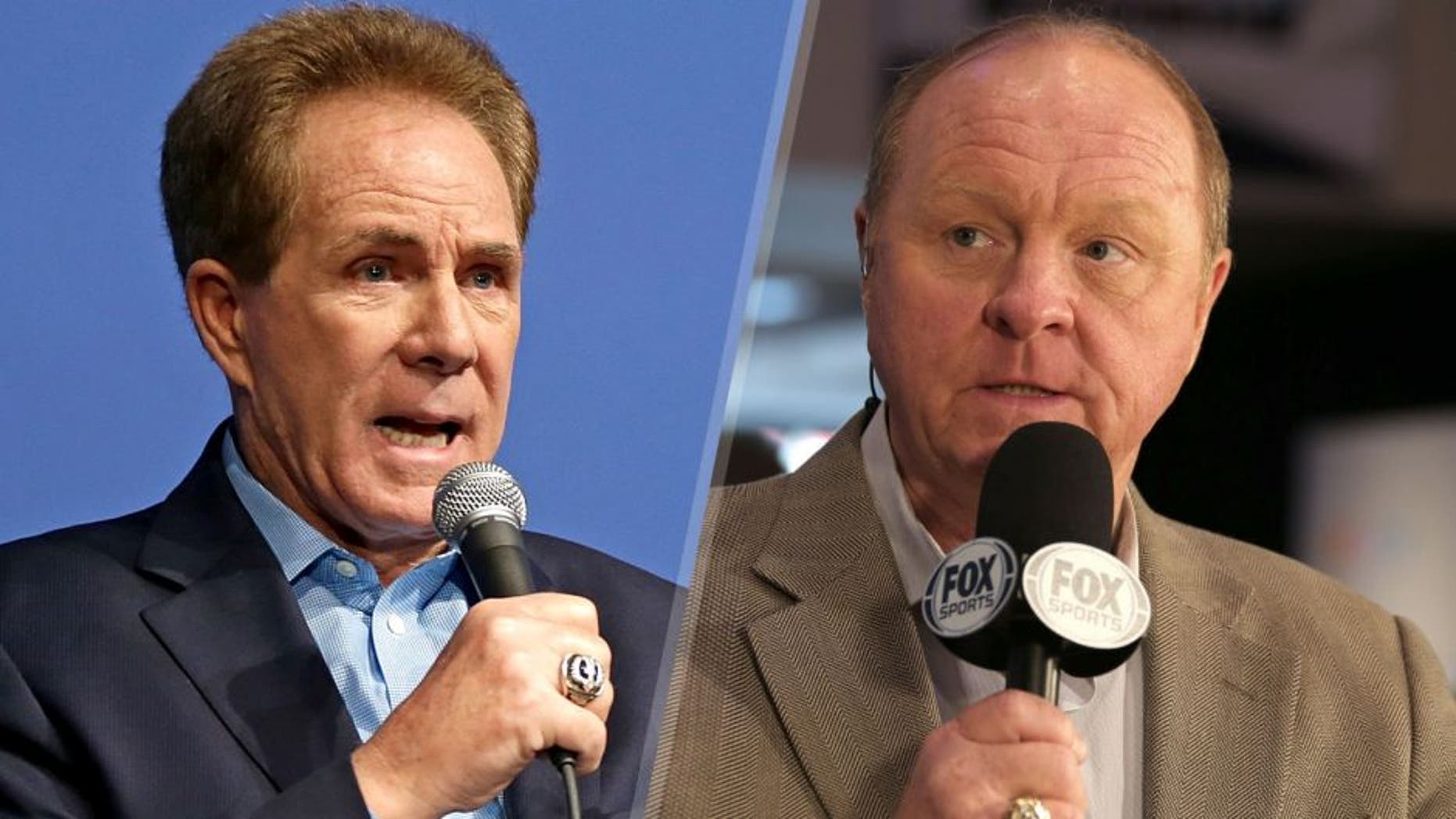 CHARLOTTE, NC - JANUARY 19: Darrell Waltrip makes a point about fellow former NASCAR driver Jeff Gordon leaving the race car for the television booth during the NASCAR 2016 Charlotte Motor Speedway Media Tour on January 19, 2016 in Charlotte, North Carolina. Bob Leverone / NASCAR via Getty Images (Photo by Bob Leverone/NASCAR via Getty Images) USA -Feb 13: Larry McReynolds with Fox Sports conducts an interview during the 2014 NASCAR Media Day at the Daytona International Speedway on Feb 13, 2014 in the United States. (Photo by Jim Fluharty/NASCAR Illustrated/Sporting News via Getty Images)