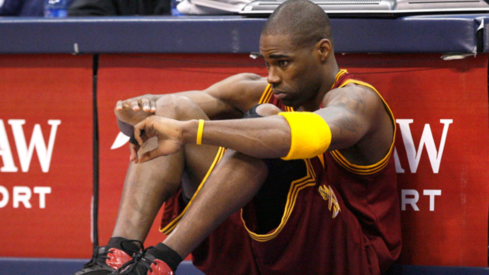 Feb. 7: Cleveland Cavaliers power forward Antawn Jamison (4) sits in front of the scorer's tables, waiting to be subbed in during the first half of the NBA basketball game against the Dallas Mavericks in Dallas.