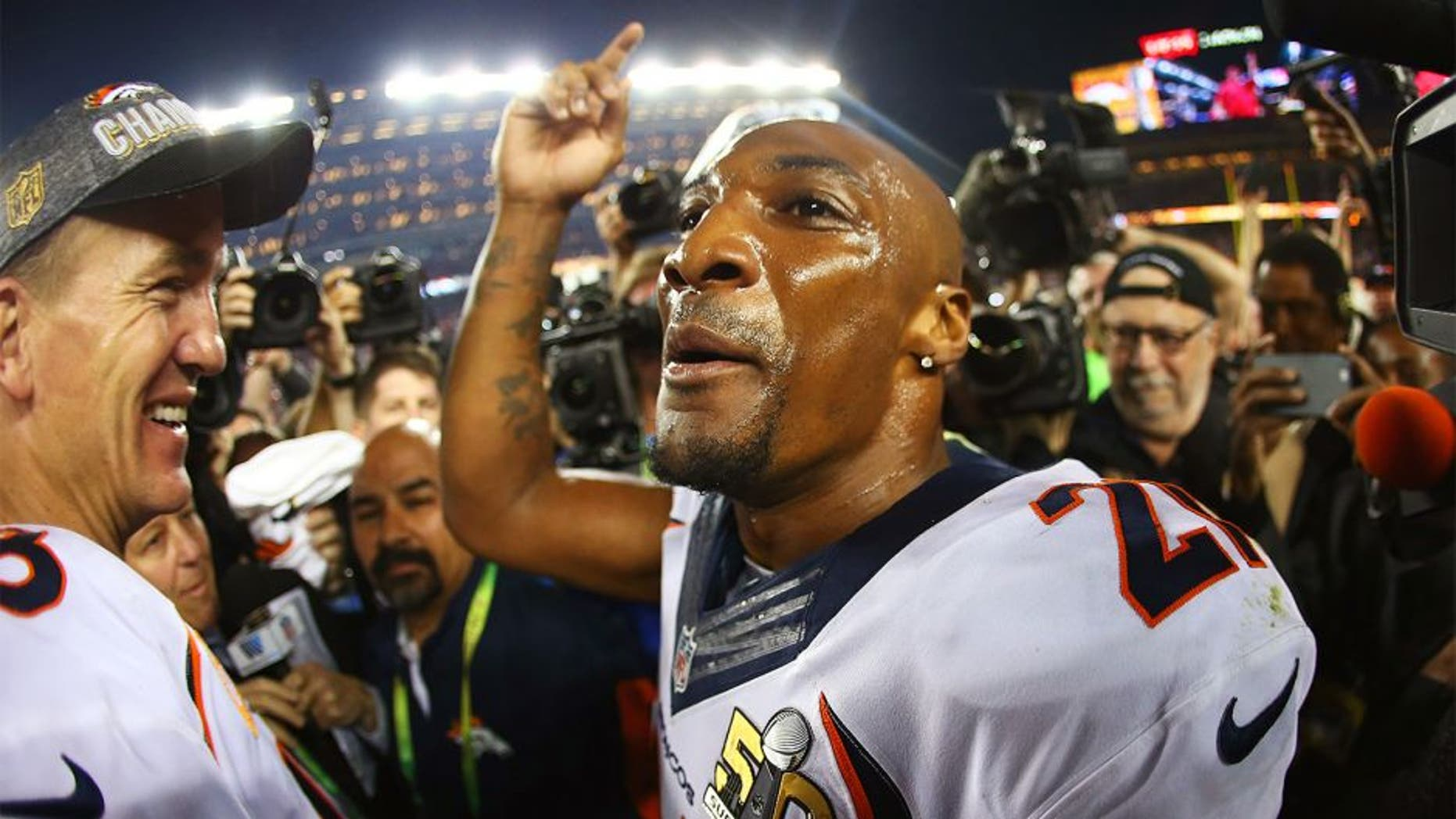SANTA CLARA, CA - FEBRUARY 07: Aqib Talib #21 of the Denver Broncos celebrates after defeating the Carolina Panthers during Super Bowl 50 at Levi's Stadium on February 7, 2016 in Santa Clara, California. The Broncos defeated the Panthers 24-10. (Photo by Ronald Martinez/Getty Images)