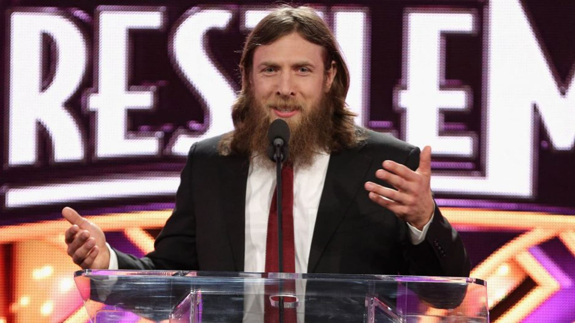 NEW YORK, NY - APRIL 01: Professional wrestler Daniel Bryan attends the WrestleMania 30 press conference at the Hard Rock Cafe New York on April 1, 2014 in New York City. (Photo by Andrew Toth/FilmMagic)
