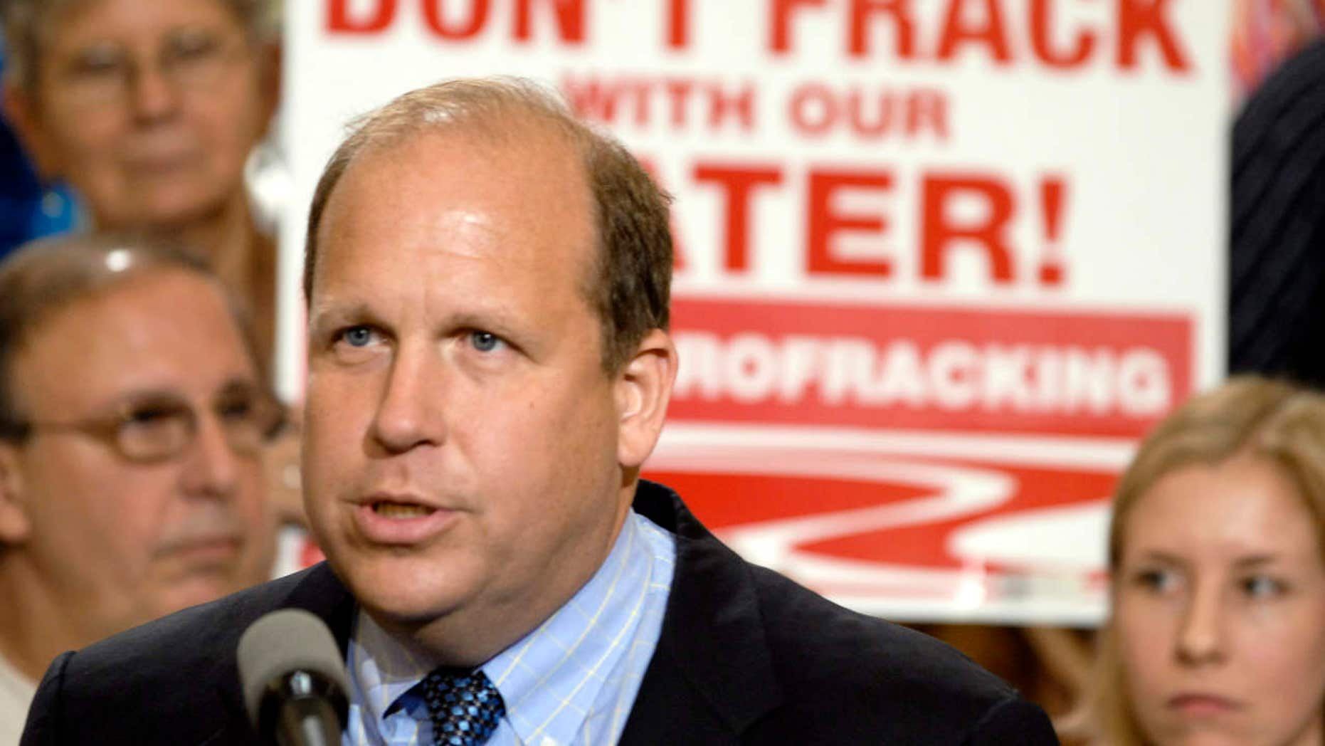 FILE - In this June 7, 2011, file photo, state Sen. Daylin Leach, D-Montgomery, addresses a host of environmental and community groups gathered for a rally in the state capitol against gas drilling in the Marcellus Shale natural gas formation in Harrisburg, Pa.