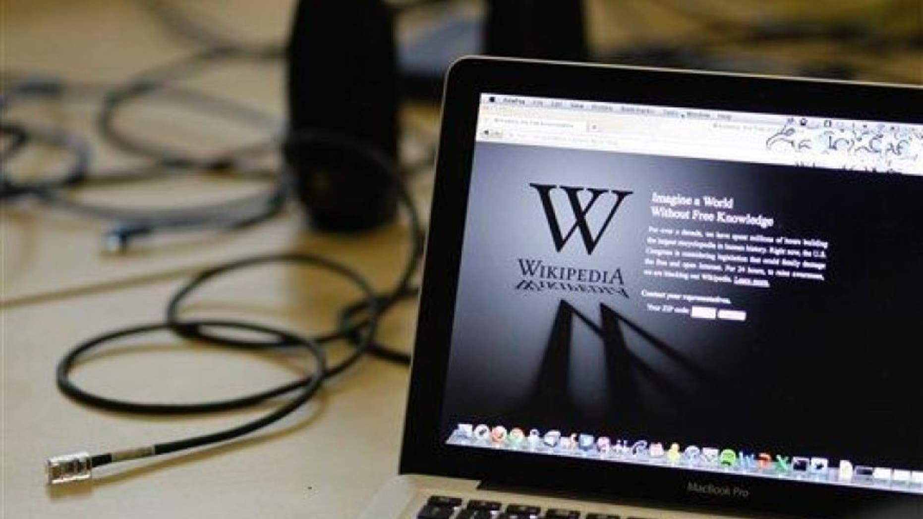 A blackout landing page is displayed on a laptop computer screen at the offices of the Wikipedia Foundation in San Francisco, Wednesday, Jan. 18, 2012.