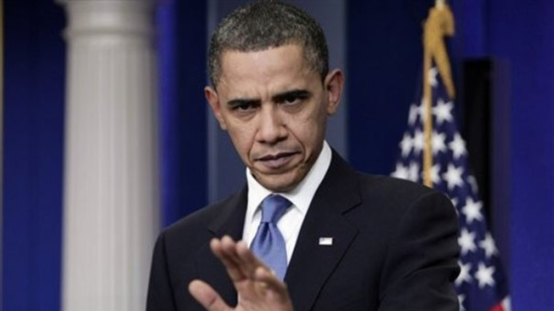 Feb. 9, 2009: President Obama gestures during his first press conference in the White House. (AP Photo)