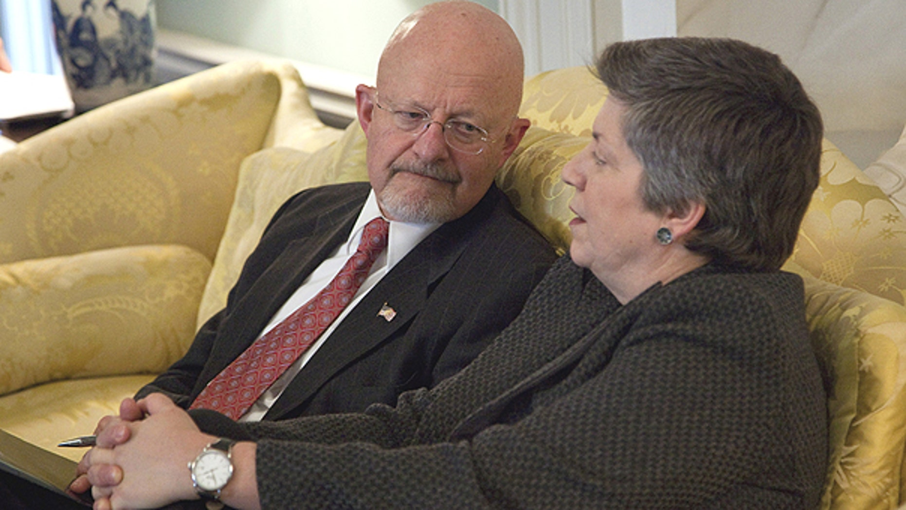 Feb. 1: Directory of National Intelligence James Clapper, left, talks with Homeland Security Secretary Janet Napolitano at the State Department in Washington before a meeting of the President's Interagency Task Force on human trafficking.