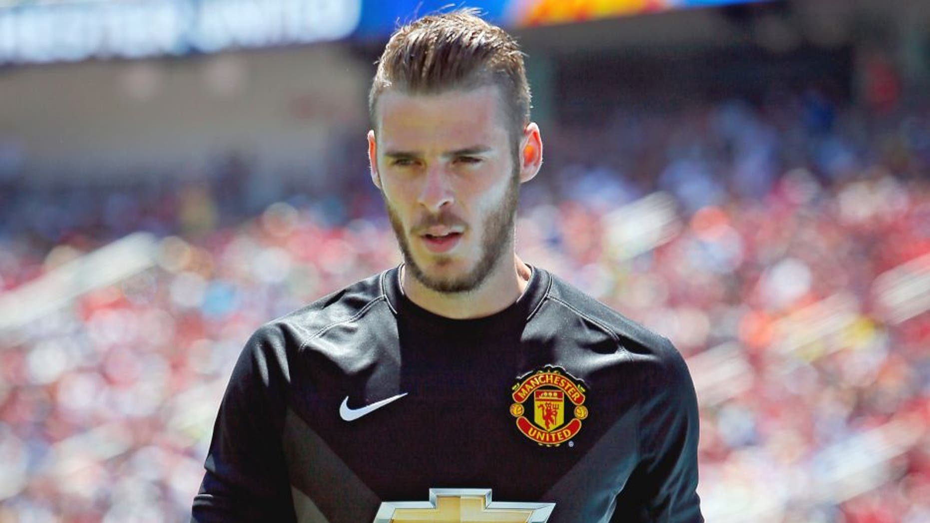 SANTA CLARA, CA - JULY 25: Goal keeper David De Gea #1 of Manchester United walks to pick up the ball out of bounds against FC Barcelona during the International Champions Cup on July 25, 2015 at Levi's Stadium in Santa Clara, California. Manchester United won 3-1. (Photo by Brian Bahr/Getty Images)