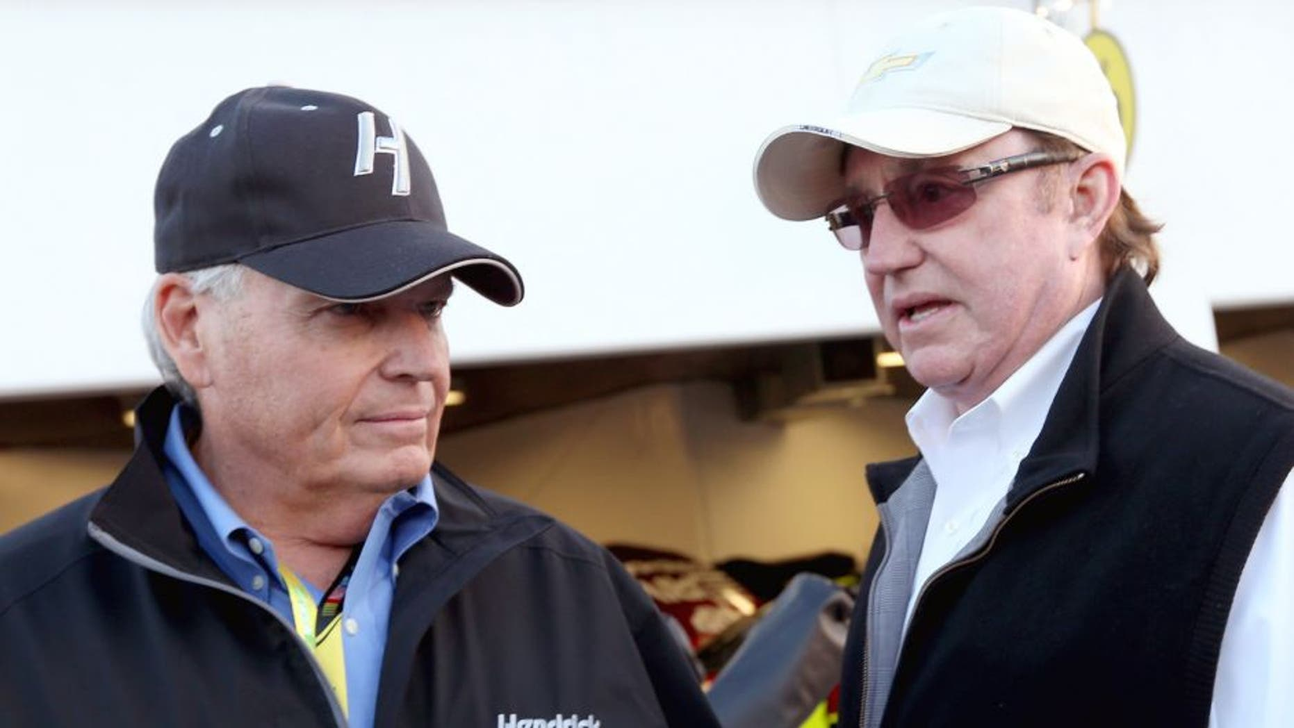 Team owners Rick Hendrick and Richard Childress during practice for the NASCAR Sprint Cup Series Sprint Unlimited at Daytona International Speedway on February 15, 2013 in Daytona Beach, Florida. (Photo by Tom Pennington/NASCAR via Getty Images)