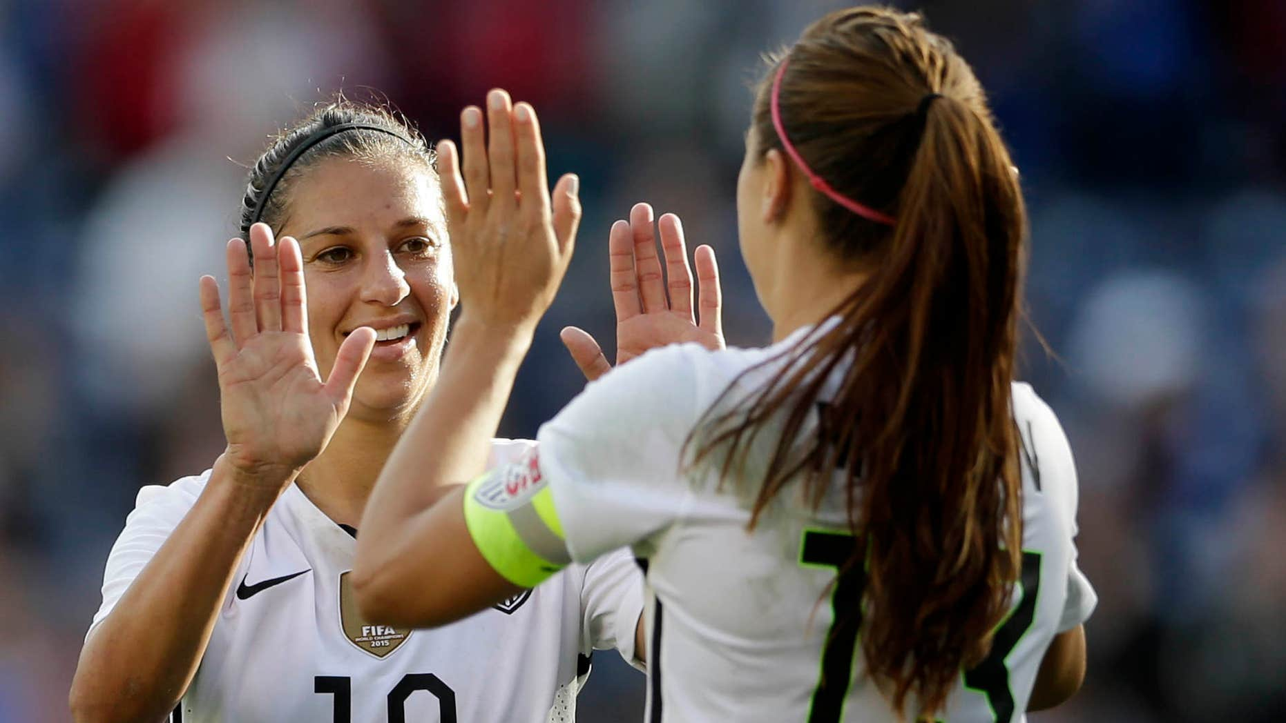 Jan. 23, 2016: he United States' Carli Lloyd (10) celebrates a goal with teammate Alex Morgan, right, during the first half in a women's international friendly soccer game against Ireland.
