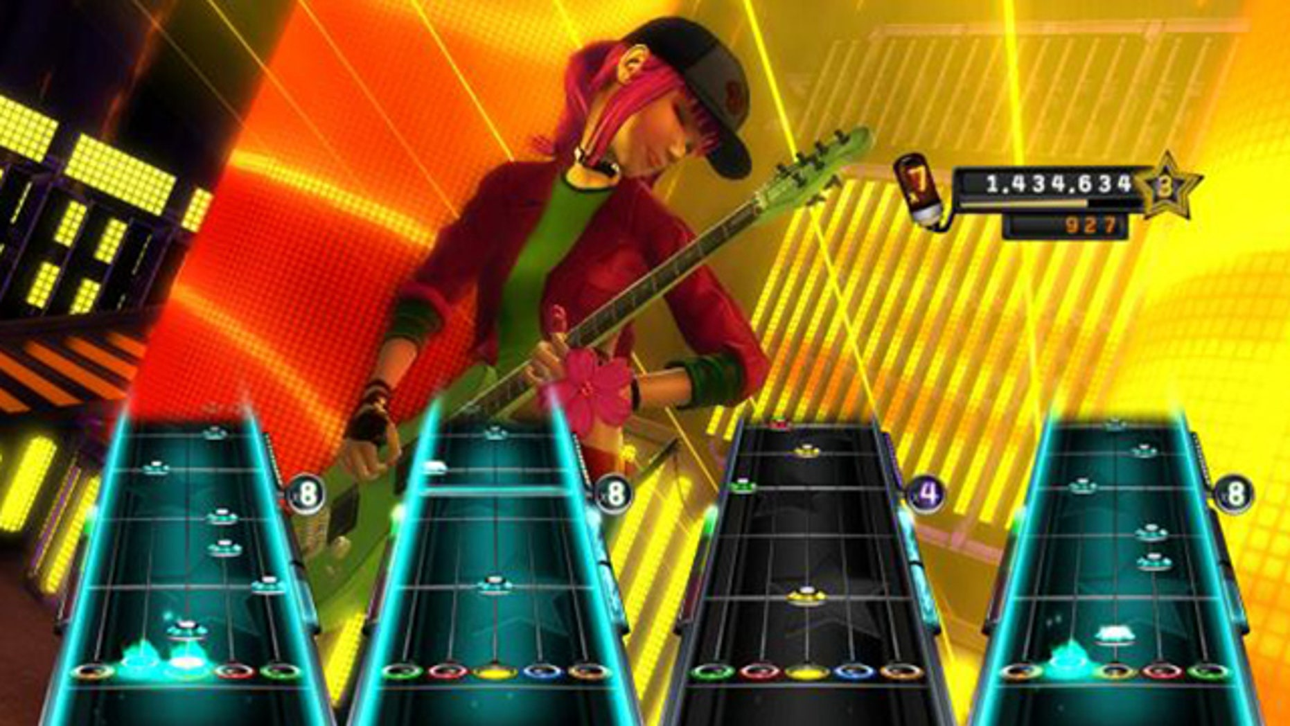 """FILE - This file screen grab released by Activision shows """"Band Hero""""; a pop-oriented entry in the """"Guitar Hero"""" series."""