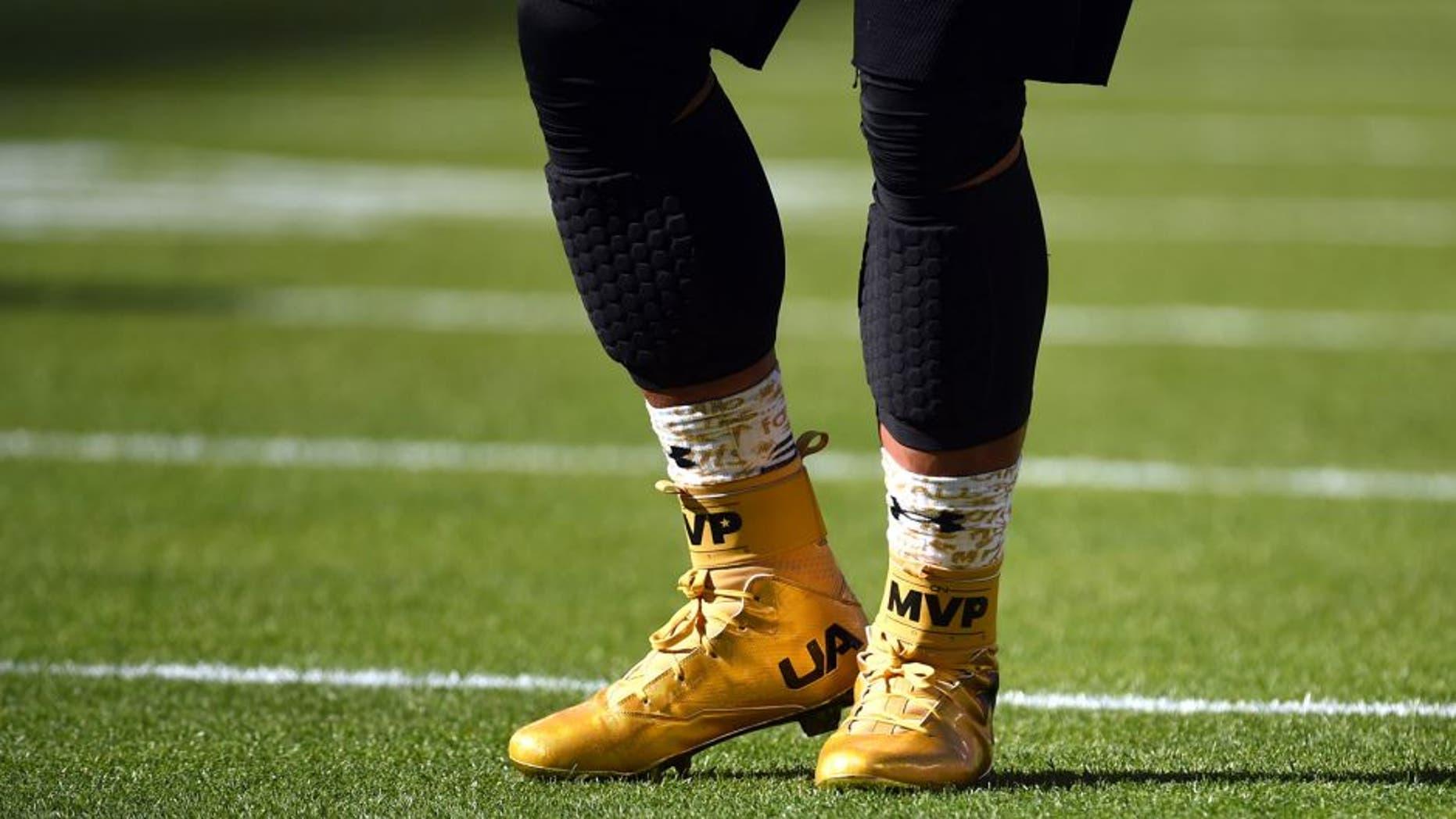 Feb 7, 2016; Santa Clara, CA, USA; Detail view of the shoes of Carolina Panthers quarterback Cam Newton prior to Super Bowl 50 against the Denver Broncos at Levi's Stadium. Mandatory Credit: Robert Deutsch-USA TODAY Sports