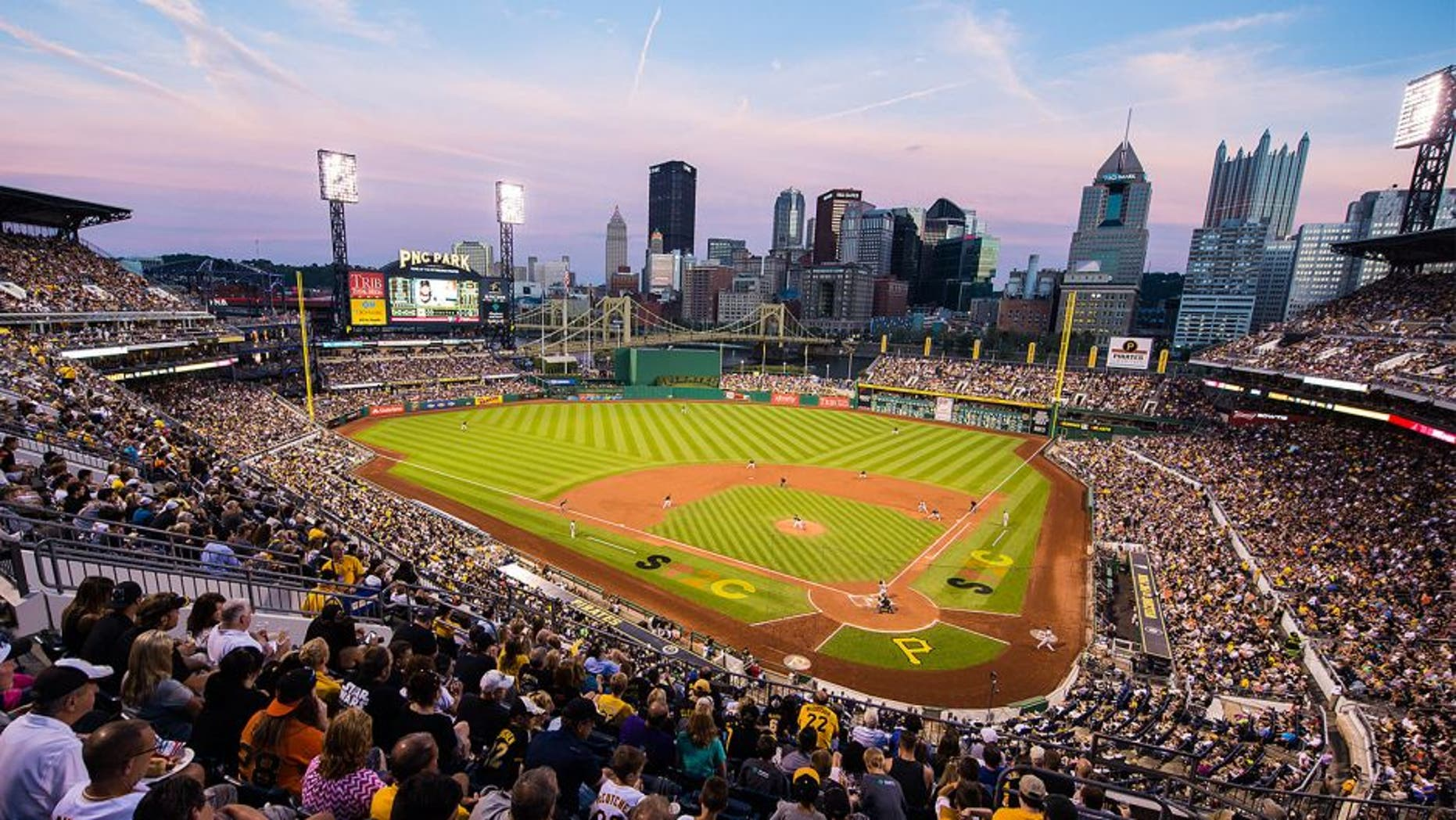 PITTSBURGH, PA - AUGUST 21: A general view of PNC Park from the upper duck at dusk during the game between the Pittsburgh Pirates and the San Francisco Giants at PNC Park on August 21, 2015 in Pittsburgh,Pennsylvania. (Photo by Rob Tringali/SportsChrome/Getty Images)