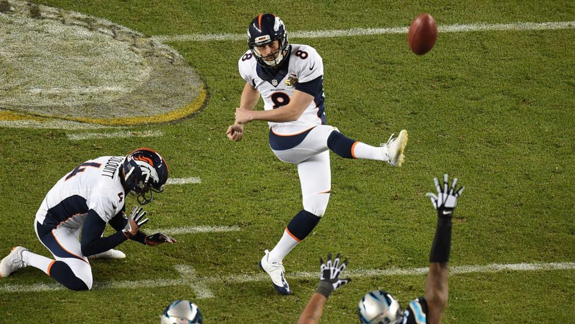 Feb 7, 2016; Santa Clara, CA, USA;Denver Broncos kicker Brandon McManus (8) kicks a third quarter field goal in Super Bowl 50 at Levi's Stadium. Mandatory Credit: Ed Szczepanski-USA TODAY Sports
