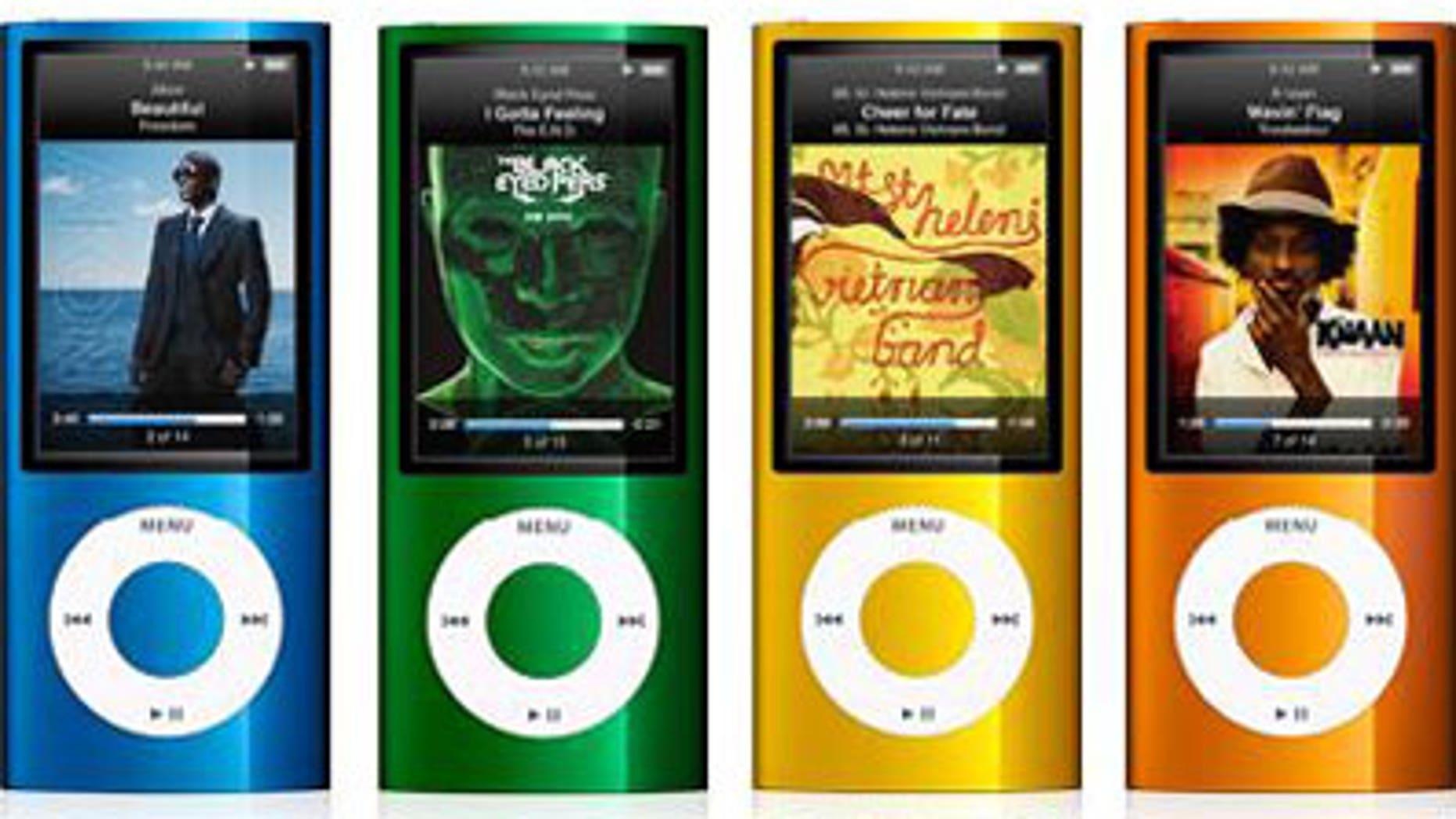 Apple's colorful iPod Nanos.
