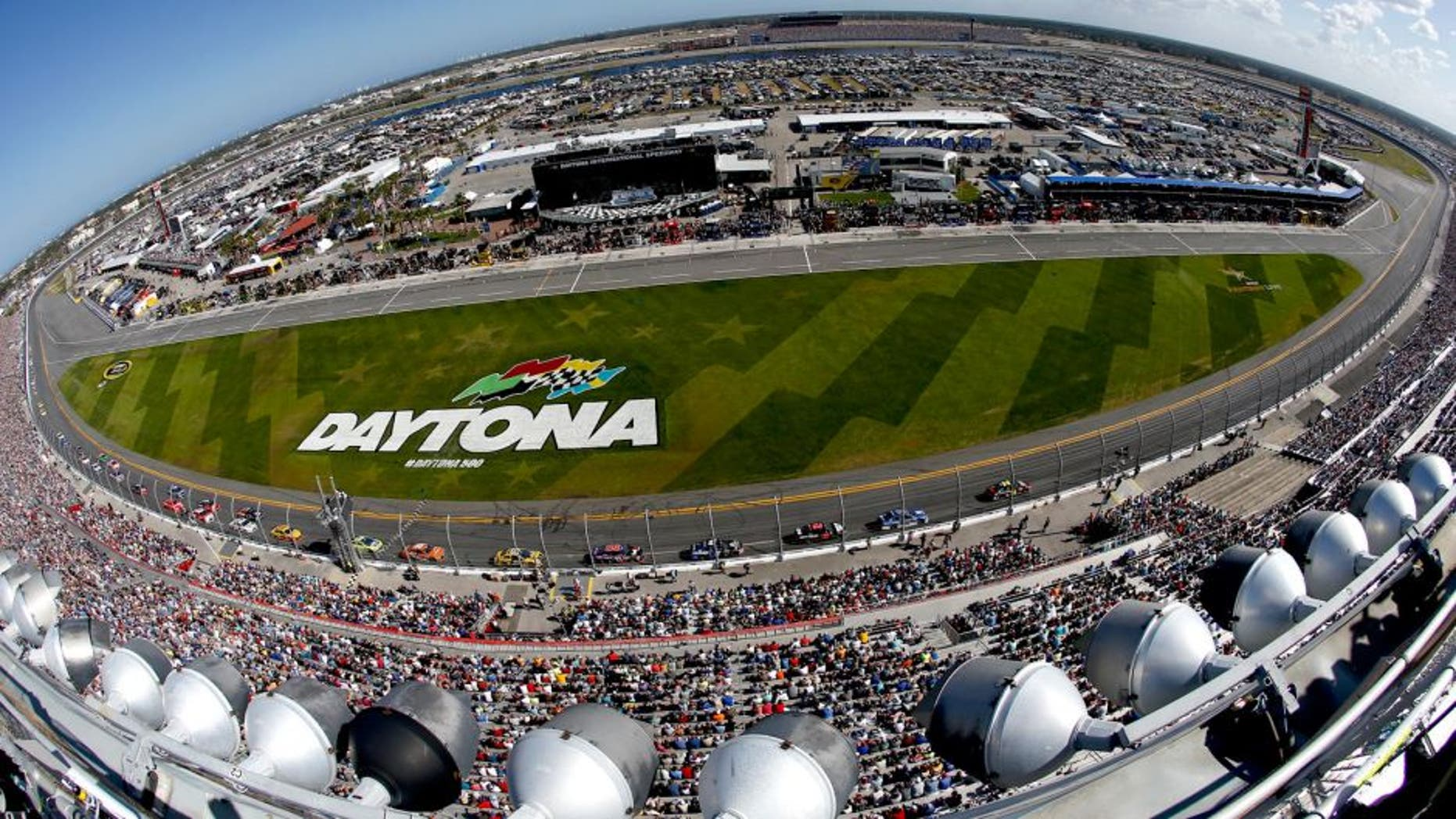 DAYTONA BEACH, FL - FEBRUARY 22: A general view of cars racing the NASCAR Sprint Cup Series 57th Annual Daytona 500 at Daytona International Speedway on February 22, 2015 in Daytona Beach, Florida. (Photo by Jeff Zelevansky/NASCAR via Getty Images)