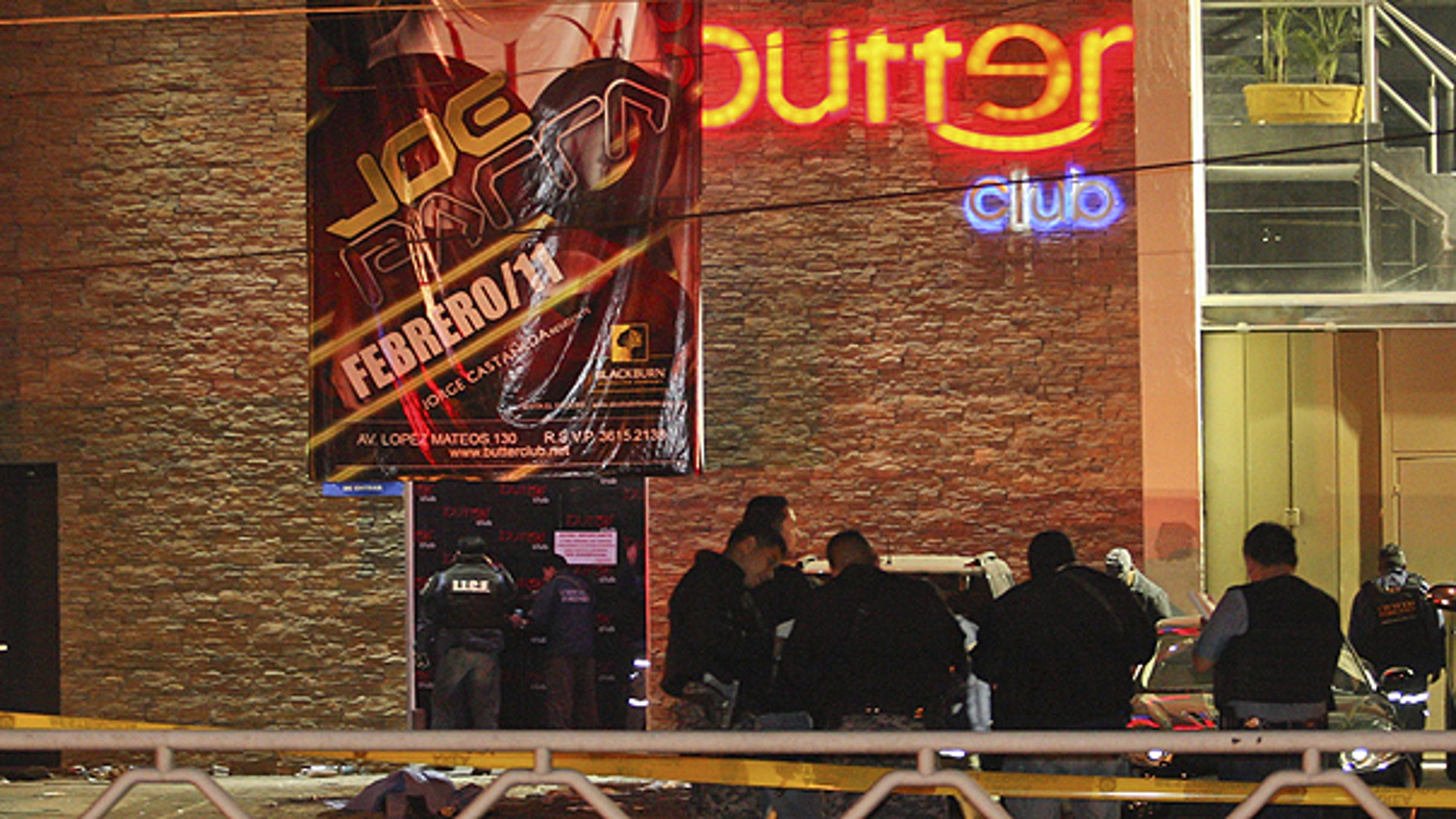 Feb. 12: State police stand outside of a nightclub after gunmen opened fire and hurled a grenade in the western city of Guadalajara, Mexico.