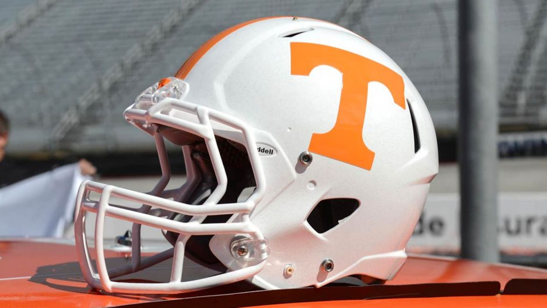 Oct 14, 2013; Knoxville, TN, USA; A helmet on display after the announcement that the Tennessee Volunteers and Virginia Tech Hokies will play a football game on Sep. 10, 2016 at Bristol Motor Speedway. Mandatory Credit: Randy Sartin-USA TODAY Sports