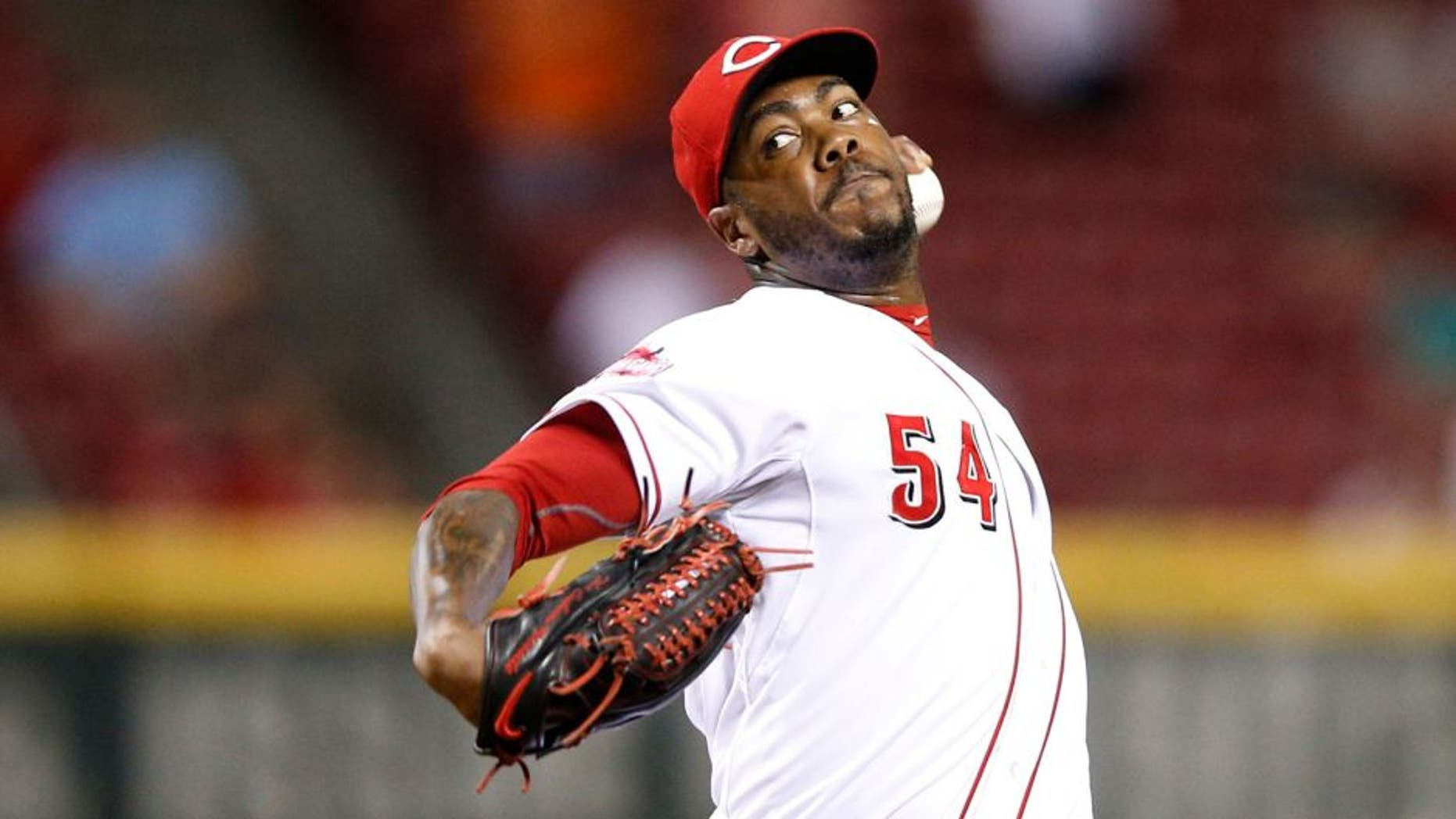 CINCINNATI, OH - AUGUST 24: Aroldis Chapman #54 of the Cincinnati Reds pitches in the ninth inning against the Detroit Tigers at Great American Ball Park on August 24, 2015 in Cincinnati, Ohio. The Reds defeated the Tigers 12-5. (Photo by Joe Robbins/Getty Images)