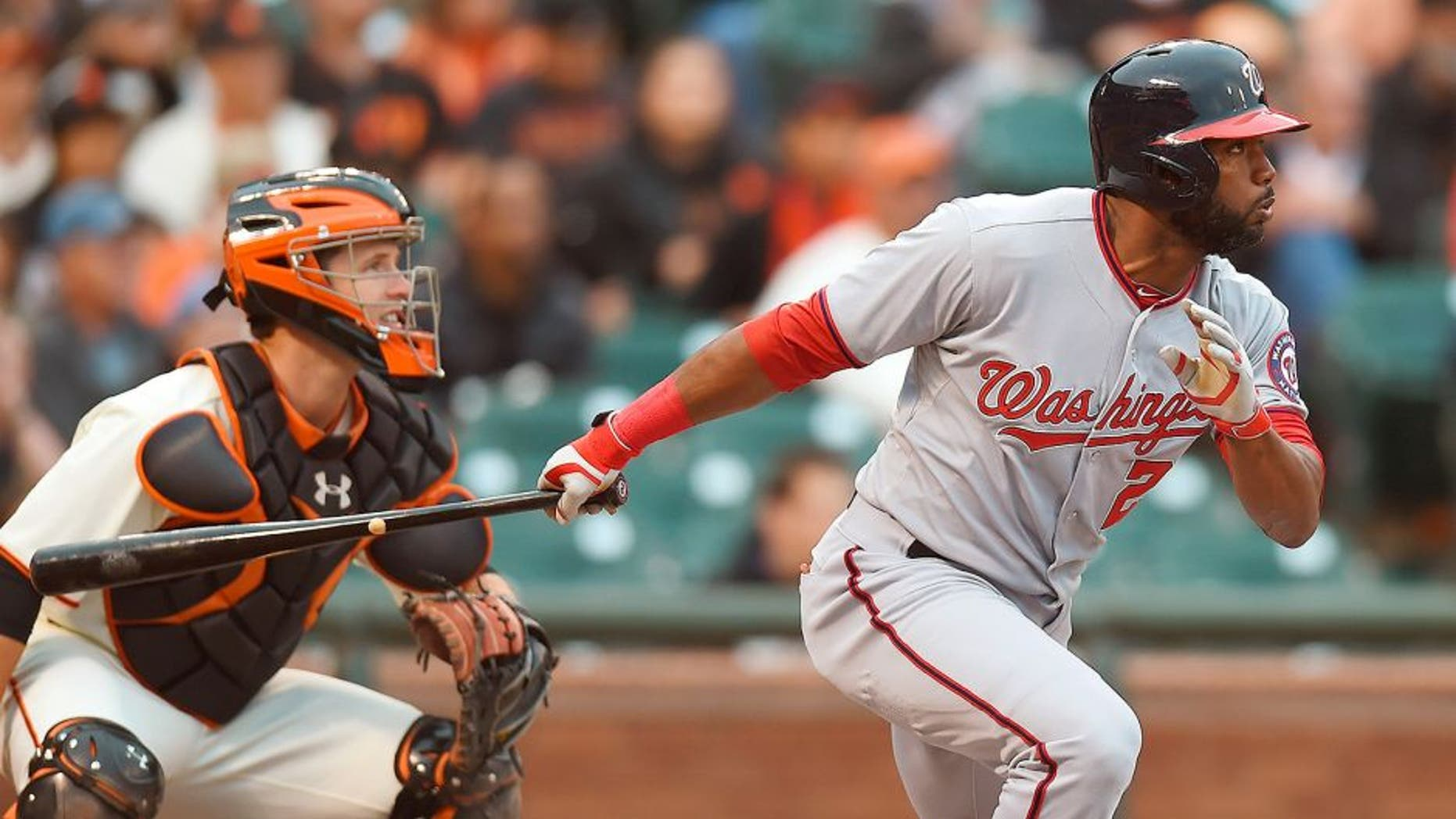 SAN FRANCISCO, CA - JUNE 10: Denard Span #2 of the Washington Nationals bats in the top of the first inning against the San Francisco Giants at AT&T Park on June 10, 2014 in San Francisco, California. (Photo by Thearon W. Henderson/Getty Images) *** Local Caption *** Denard Span