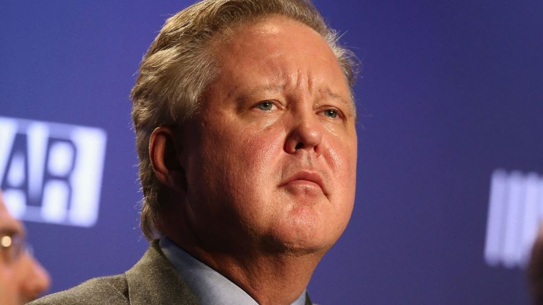 CHARLOTTE, NC - FEBRUARY 09: CEO and Chairman of NASCAR Brian France addresses the media at Charlotte Convention Center on February 9, 2016 in Charlotte, North Carolina. (Photo by Gregg Forwerck/NASCAR via Getty Images)