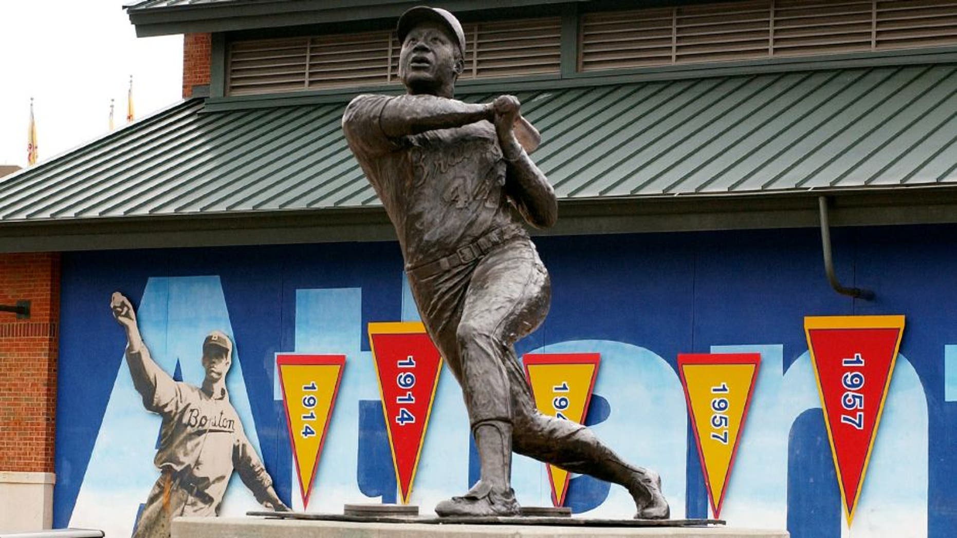 ATLANTA - JULY 26: At Turner Field, a statue at honors #44 Hank Aaron and his career with the Braves (1954-1974), on July 26, 2004 in Atlanta, Georgia. (Photo by Scott Cunningham/Getty Images)