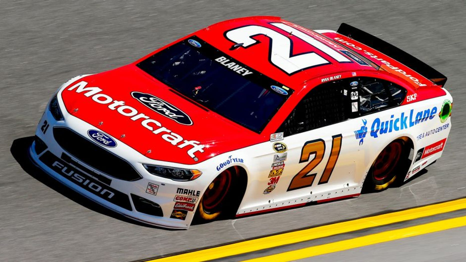 DAYTONA BEACH, FL - FEBRUARY 13: Ryan Blaney, driver of the #21 Motorcraft/Quick Lane Tire & Auto Center Ford, practices for the NASCAR Sprint Cup Series Daytona 500 at Daytona International Speedway on February 13, 2016 in Daytona Beach, Florida. (Photo by Jonathan Ferrey/NASCAR via Getty Images)