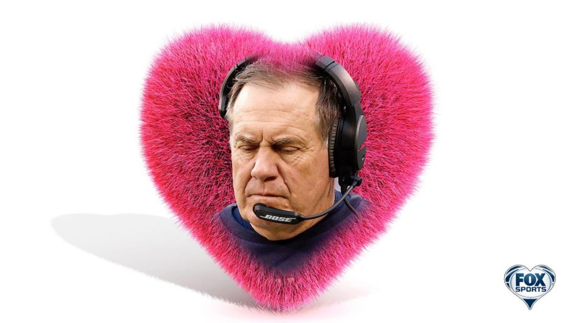 021316 NFL V-Day card Belichick inside a foofy pink heart EH PI