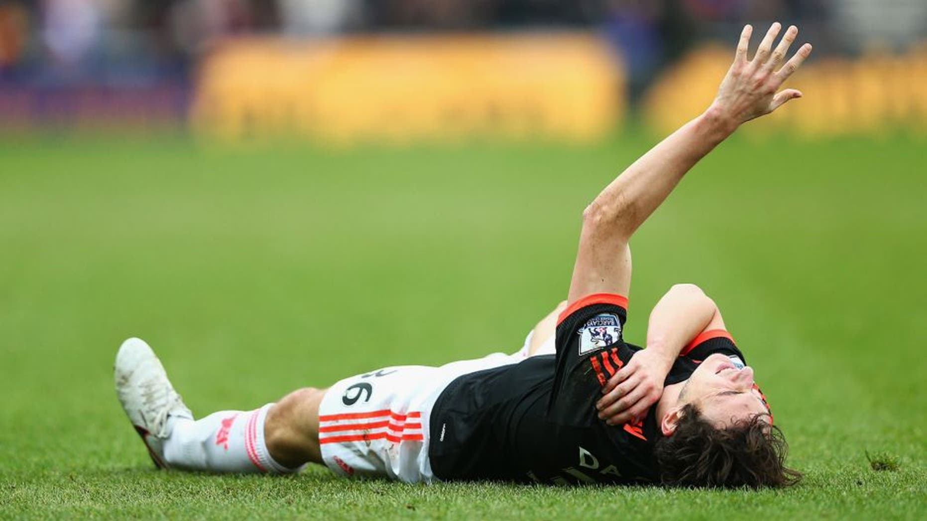 SUNDERLAND, ENGLAND - FEBRUARY 13: Matteo Darmian of Manchester United lies injured during the Barclays Premier League match between Sunderland and Manchester United at the Stadium of Light on February 13, 2016 in Sunderland, England. (Photo by Clive Brunskill/Getty Images)