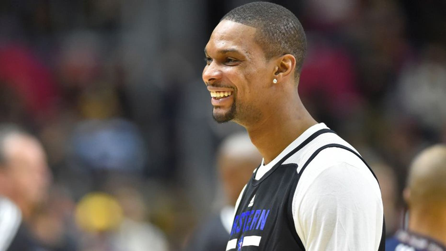 Feb 13, 2016; Toronto, Ontario, Canada; Eastern Conference forward Chris Bosh of the Miami Heat (1) looks on during practice for the NBA All Star game at Ricoh Coliseum. Mandatory Credit: Bob Donnan-USA TODAY Sports