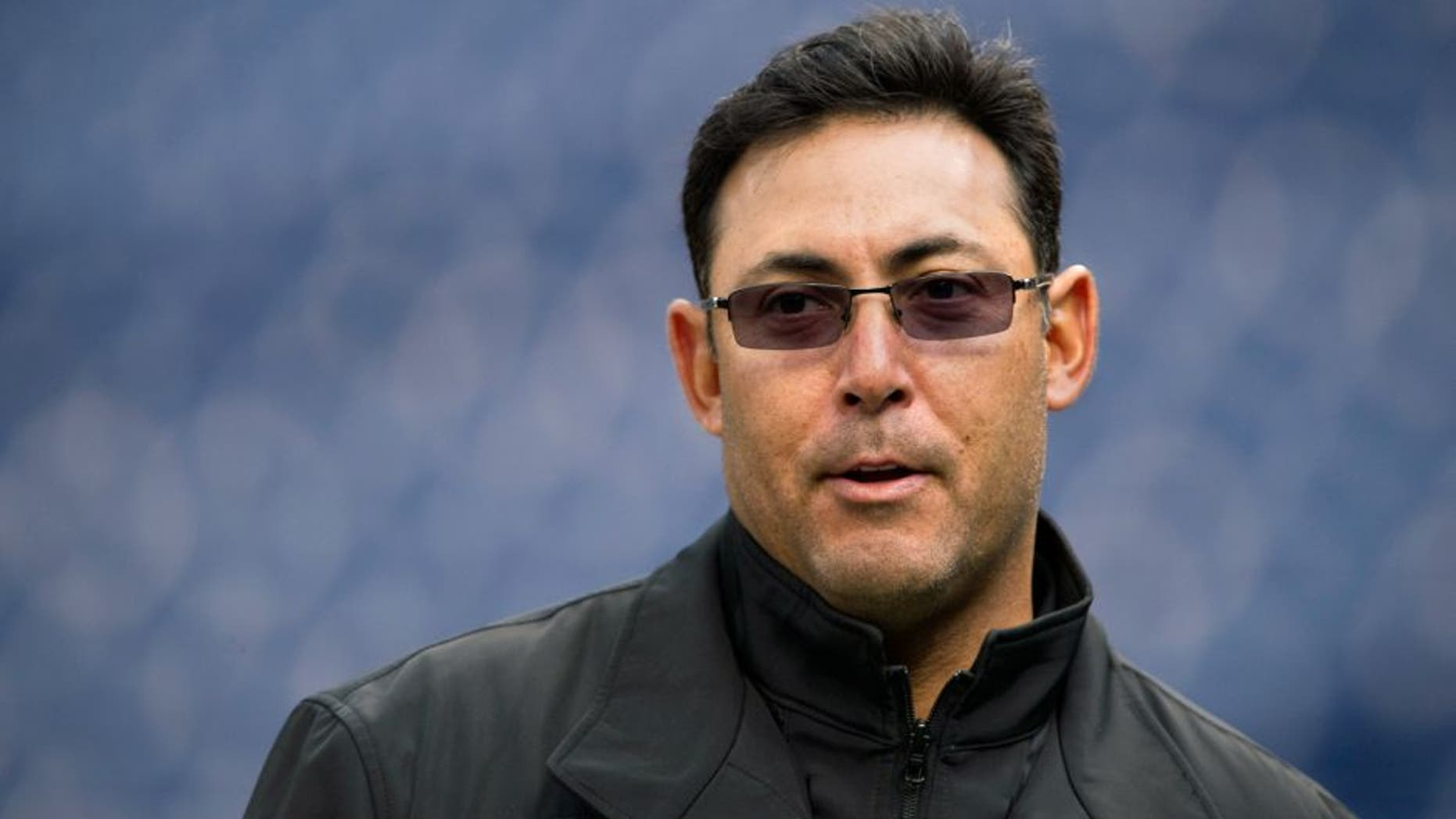Apr 12, 2012; Philadelphia, PA, USA; Philadelphia Phillies general manager Ruben Amaro Jr during batting practice prior to playing the Miami Marlins at Citizens Bank Park. Mandatory Credit: Howard Smith-USA TODAY Sports