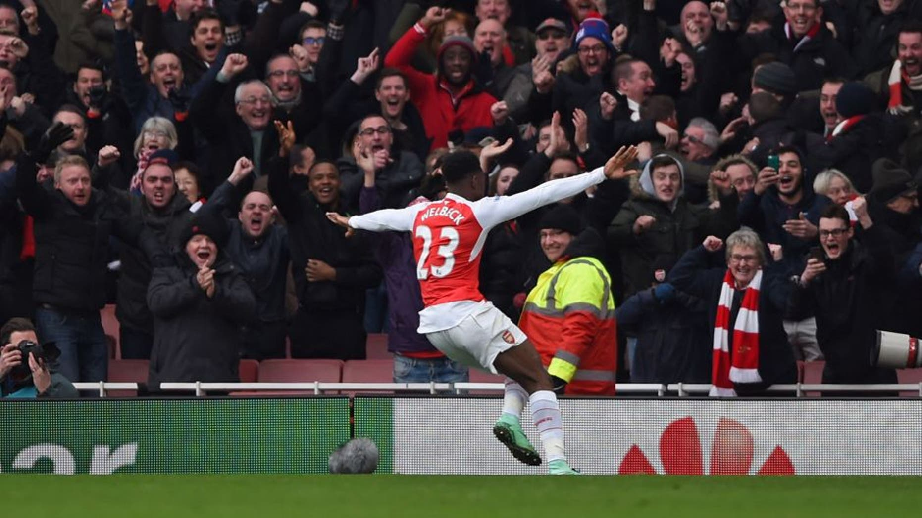 "Football Soccer - Arsenal v Leicester City - Barclays Premier League - Emirates Stadium - 14/2/16 Arsenal's Danny Welbeck celebrates scoring their second goal Action Images via Reuters / Tony O'Brien Livepic EDITORIAL USE ONLY. No use with unauthorized audio, video, data, fixture lists, club/league logos or ""live"" services. Online in-match use limited to 45 images, no video emulation. No use in betting, games or single club/league/player publications. Please contact your account representative for further details."
