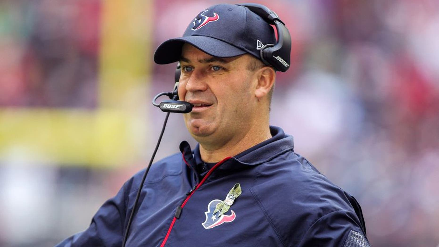 Nov 30, 2014; Houston, TX, USA; Houston Texans head coach Bill O'Brien on the sideline during the second quarter against the Tennessee Titans at NRG Stadium. Mandatory Credit: Troy Taormina-USA TODAY Sports