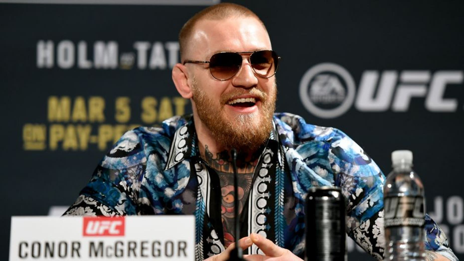 LAS VEGAS, NV - JANUARY 20: Conor McGregor of Ireland answers questions from the media during the UFC 197 on-sale press conference event inside MGM Grand Hotel & Casino on January 20, 2016 in Las Vegas, Nevada. (Photo by Jeff Bottari/Zuffa LLC/Zuffa LLC via Getty Images)