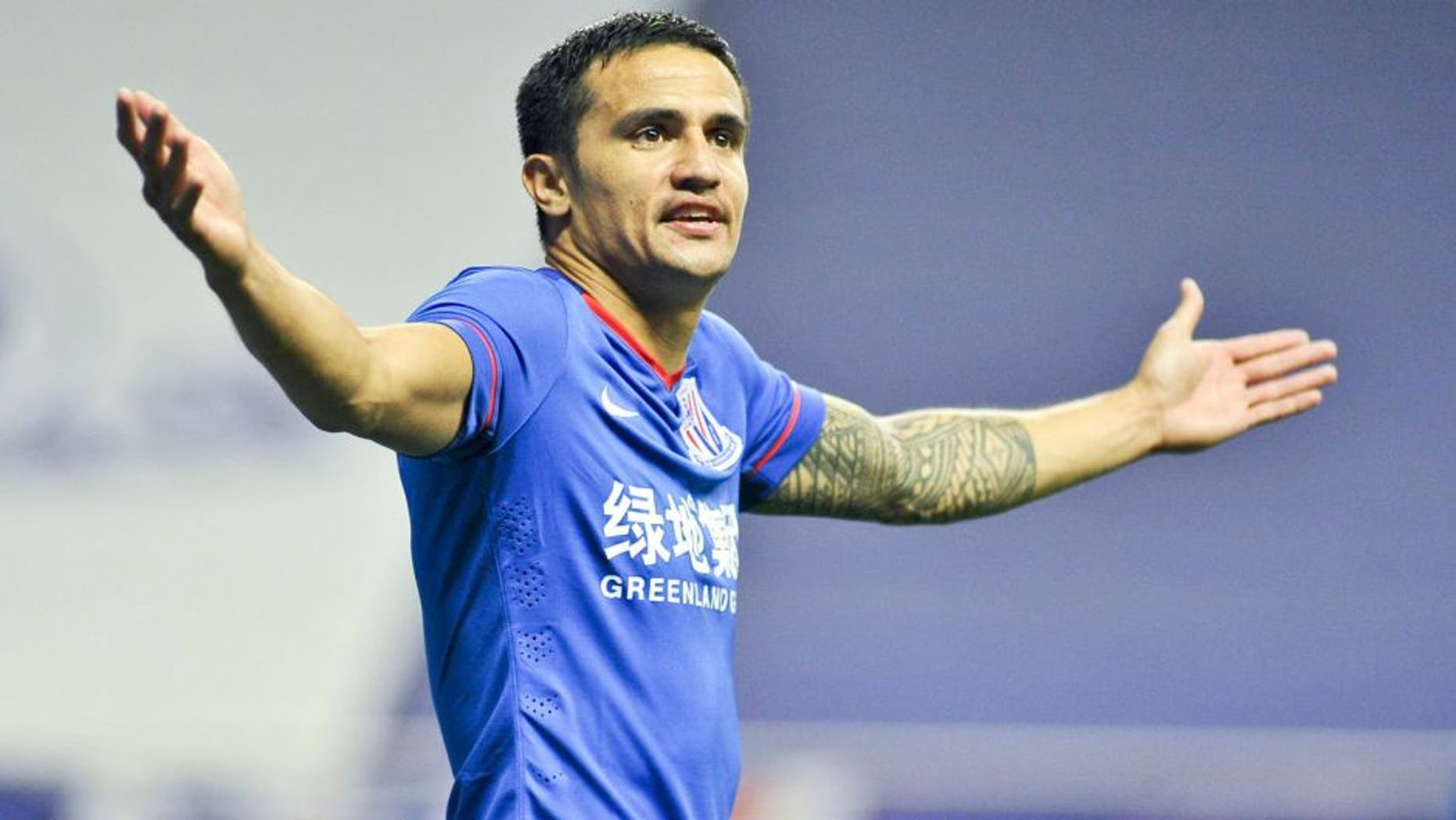 SHANGHAI, CHINA - APRIL 25: (CHINA OUT) Tim Cahill of Shanghai Greenland Shenhua celebrates a point during the Chinese Football Association Super League between Shanghai Greenland Shenhua and Hangzhou Green City at Hongkou Football Stadium on April 25, 2015 in Shanghai, China. (Photo by ChinaFotoPress/ChinaFotoPress via Getty Images)