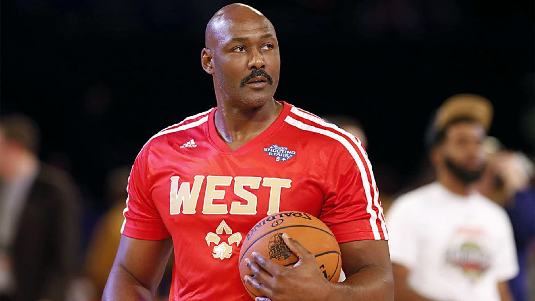 Feb 15, 2014; New Orleans, LA, USA; NBA former player Karl Malone before the 2014 NBA All Star Shooting Stars competition at Smoothie King Center. Mandatory Credit: Derick E. Hingle-USA TODAY Sports